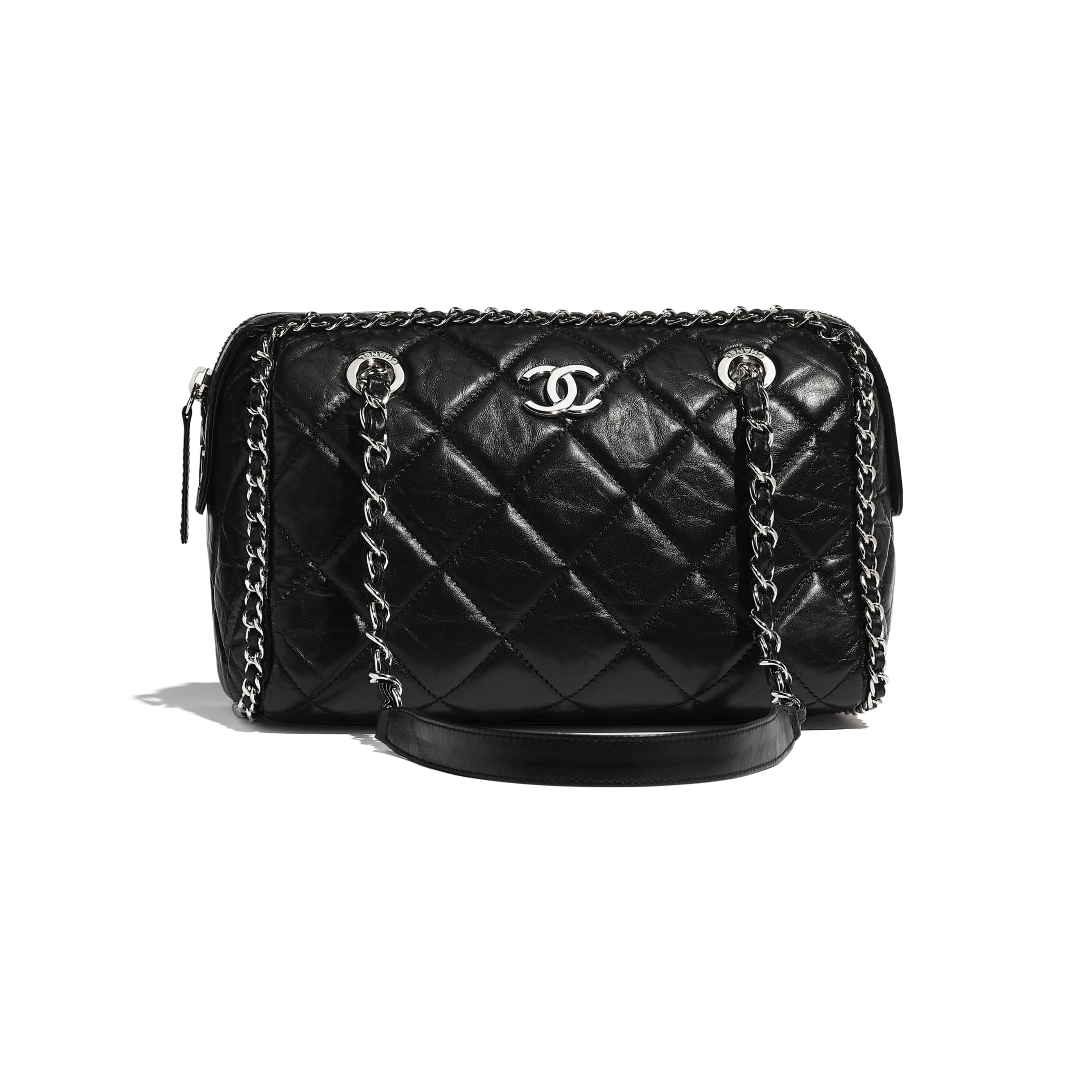 Bowling Bag - Black - Aged Calfskin & Silver-Tone Metal - CHANEL - Default view - see standard sized version