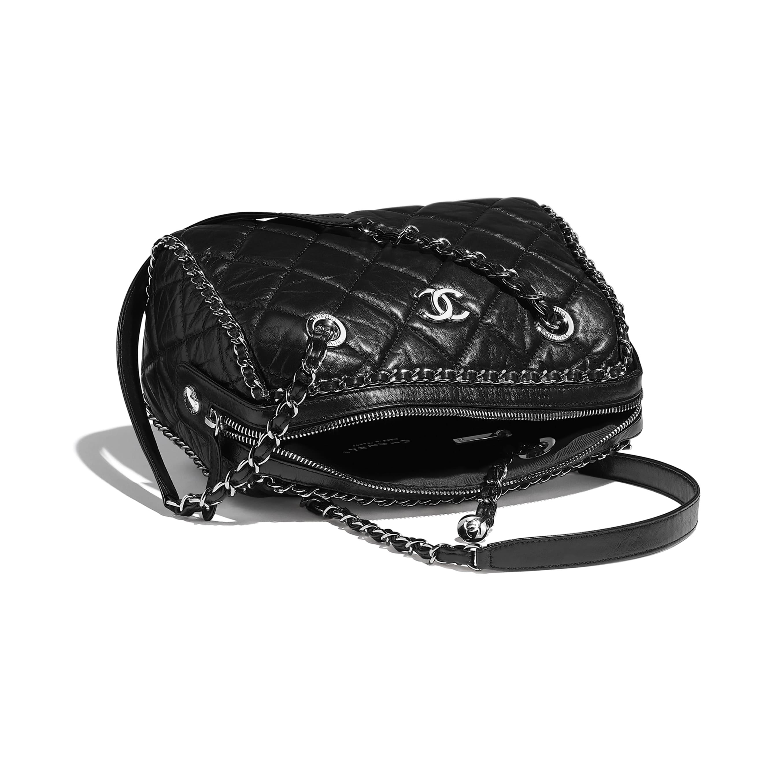 Bowling Bag - Black - Aged Calfskin & Silver-Tone Metal - CHANEL - Other view - see standard sized version