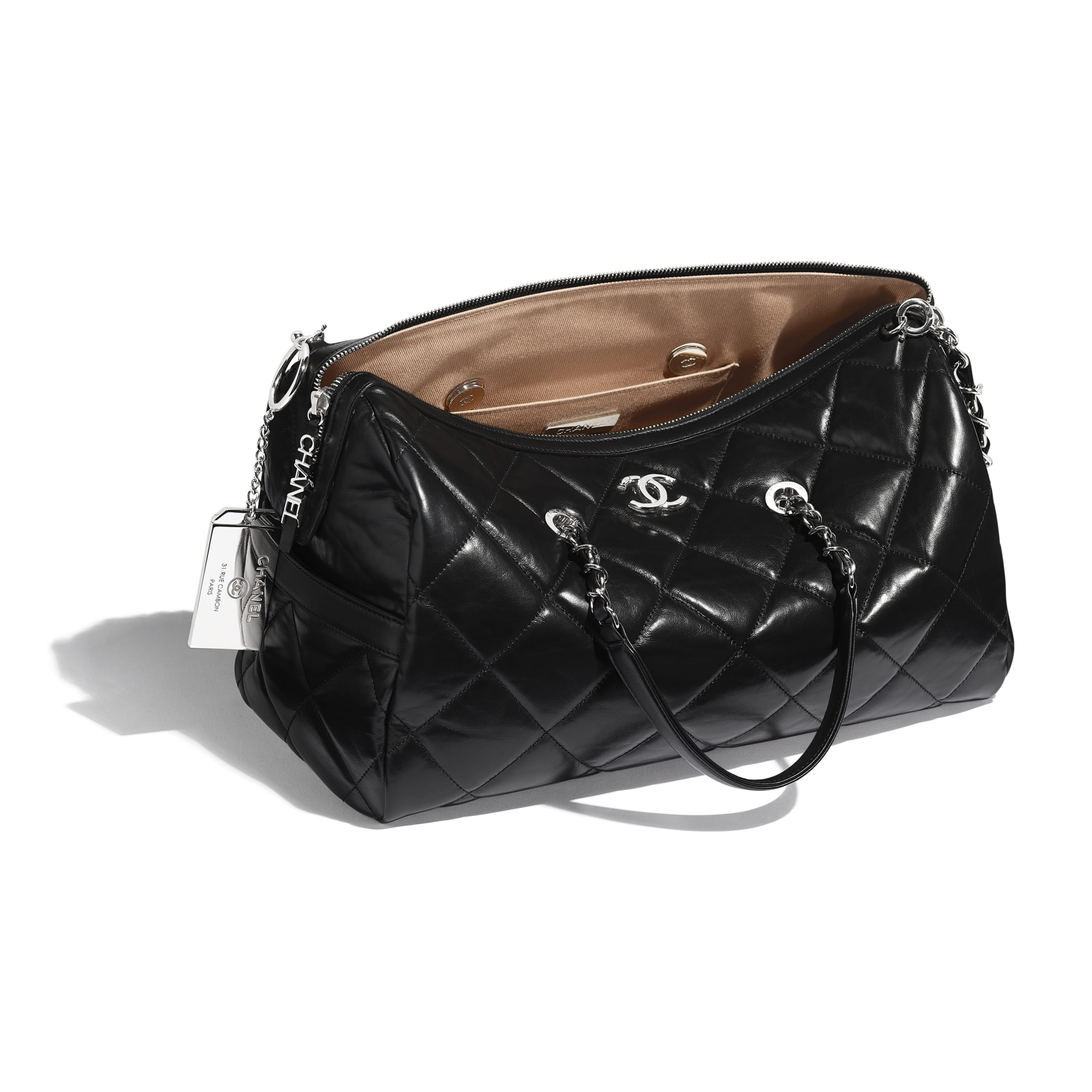 Bowling Bag - Black - Calfskin & Silver Metal - Other view - see standard sized version