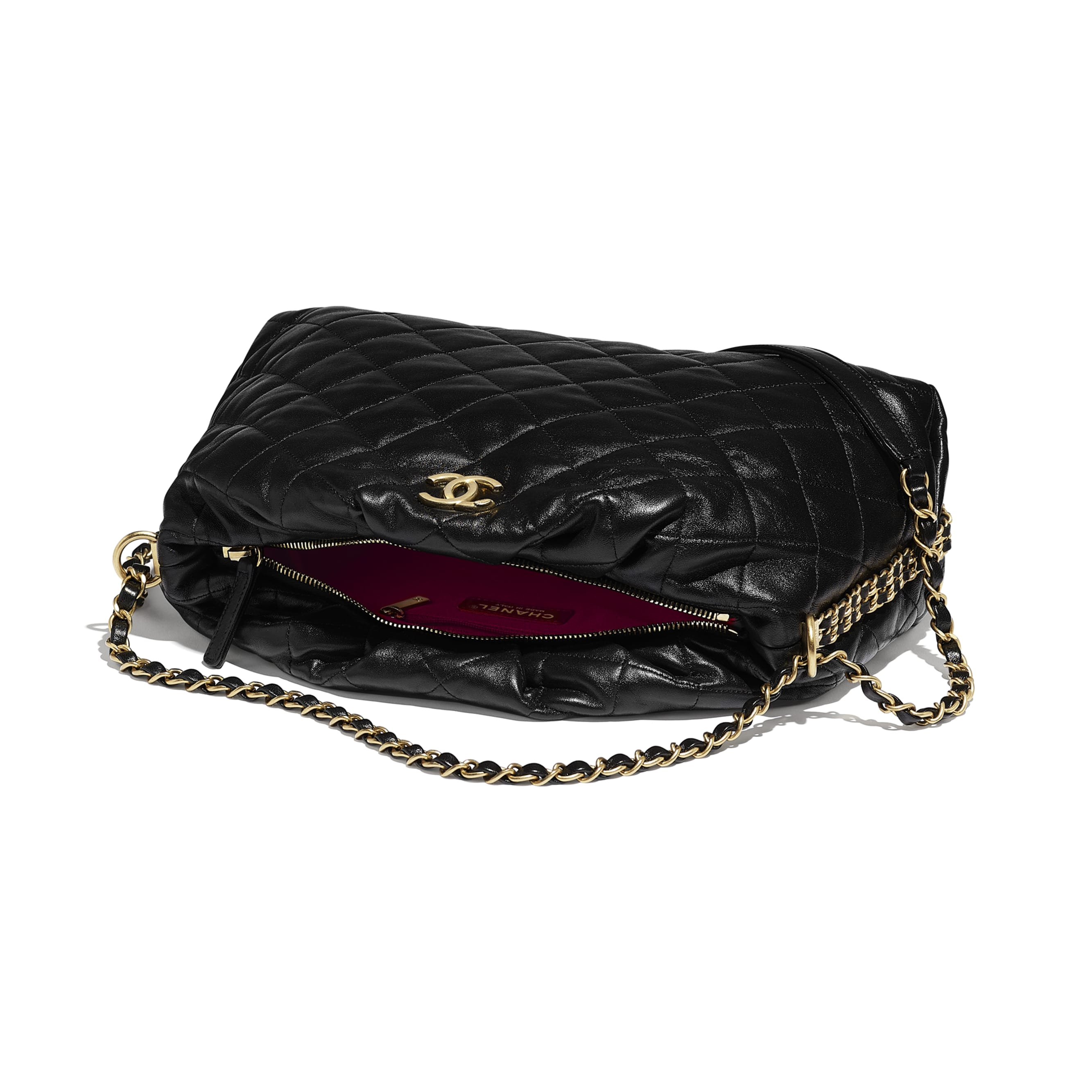 Bowling Bag - Black - Lambskin & Gold-Tone Metal - CHANEL - Other view - see standard sized version