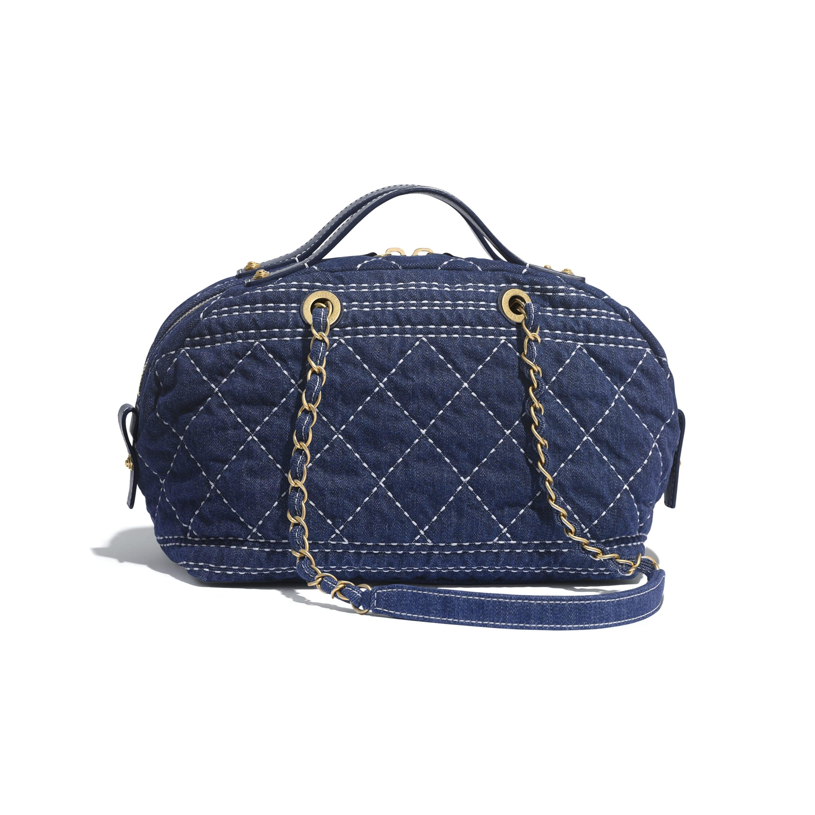 Bowling Bag - Blue - Denim & Gold-Tone Metal - CHANEL - Alternative view - see standard sized version