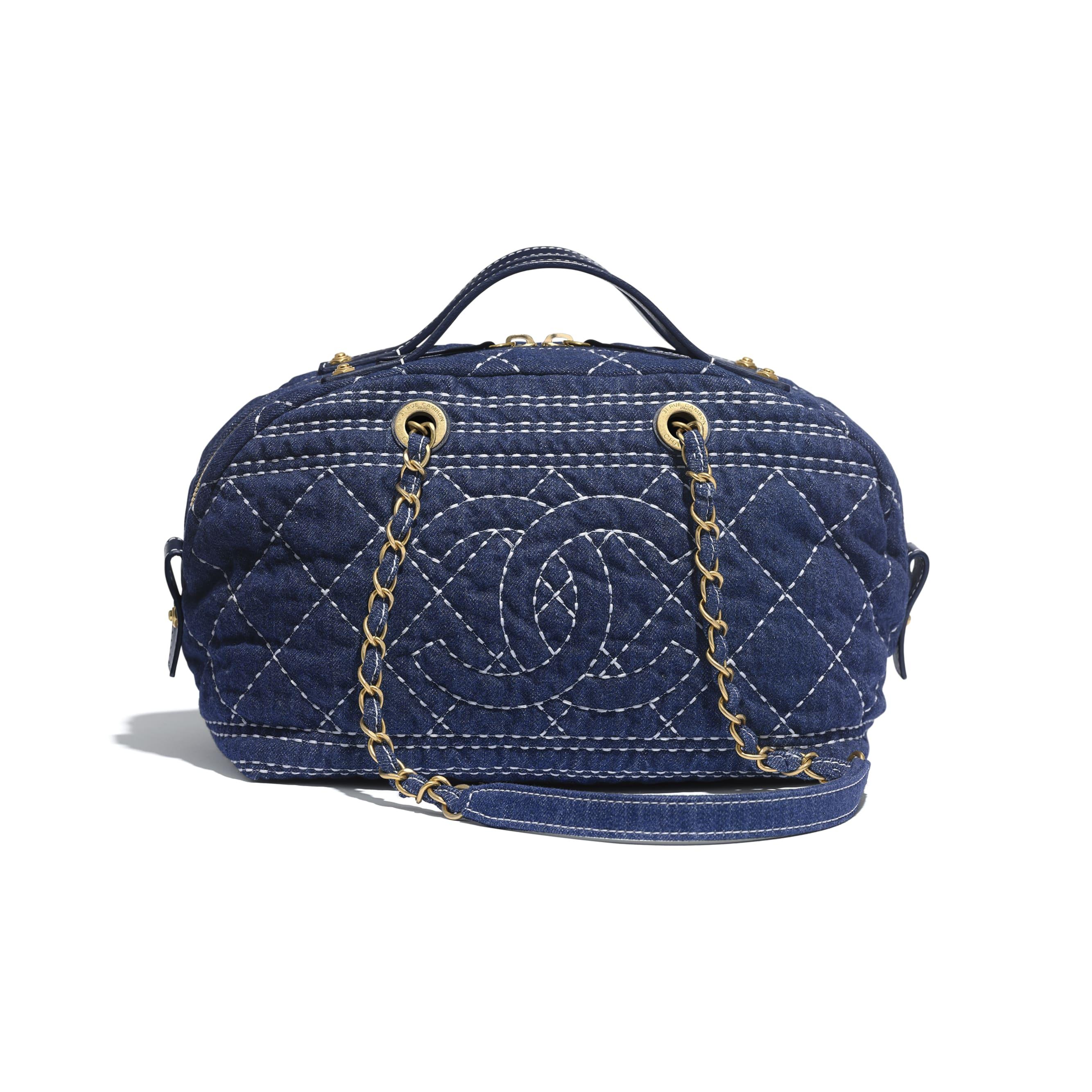 Bowling Bag - Blue - Denim & Gold-Tone Metal - CHANEL - Default view - see standard sized version