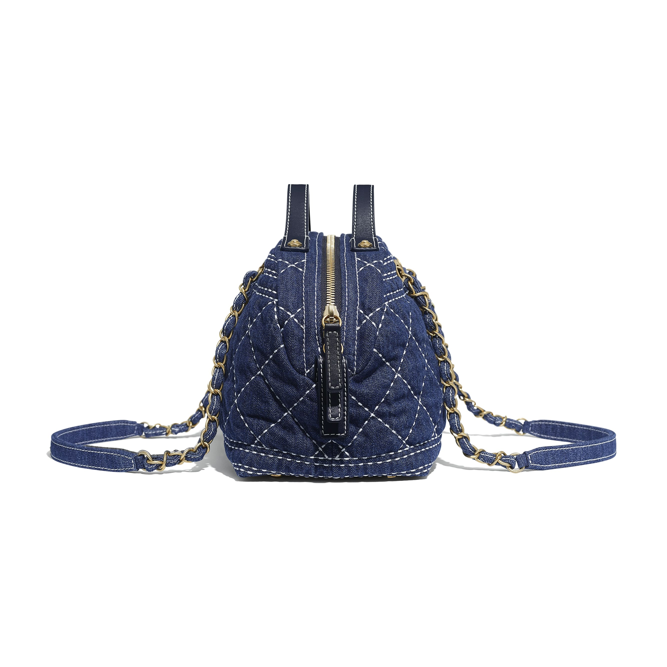 Bowling Bag - Blue - Denim & Gold-Tone Metal - CHANEL - Extra view - see standard sized version