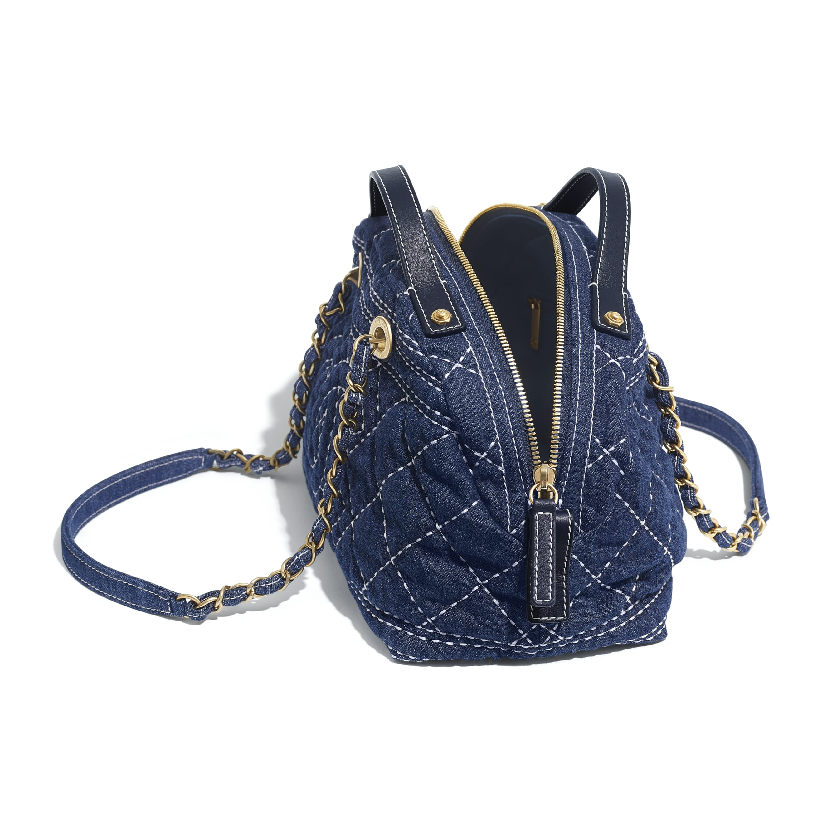 Bowling Bag - Blue - Denim & Gold-Tone Metal - CHANEL - Other view - see standard sized version