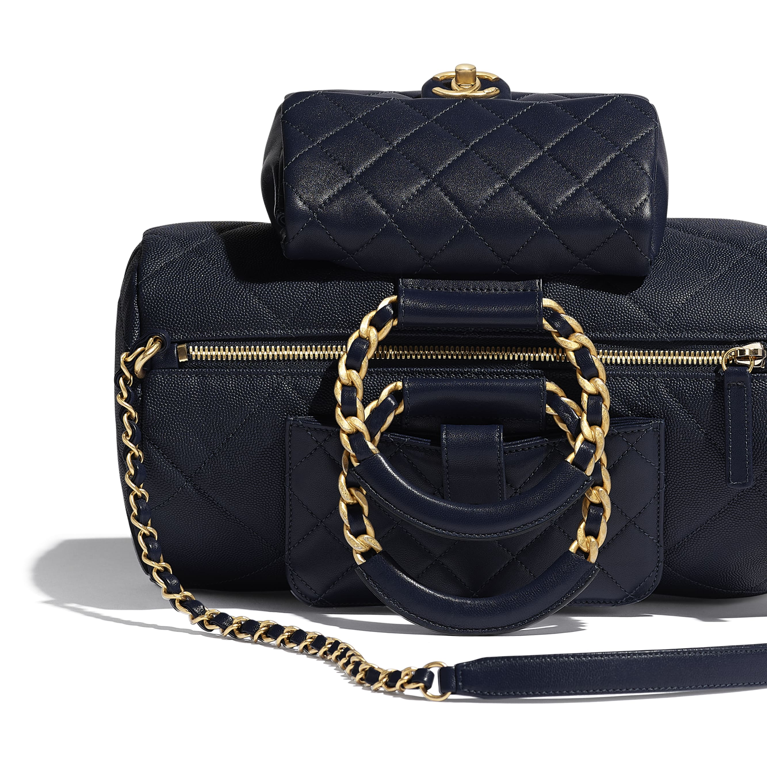 Bowling Bag - Navy Blue - Grained Calfskin, Lambskin & Gold Metal - Extra view - see standard sized version