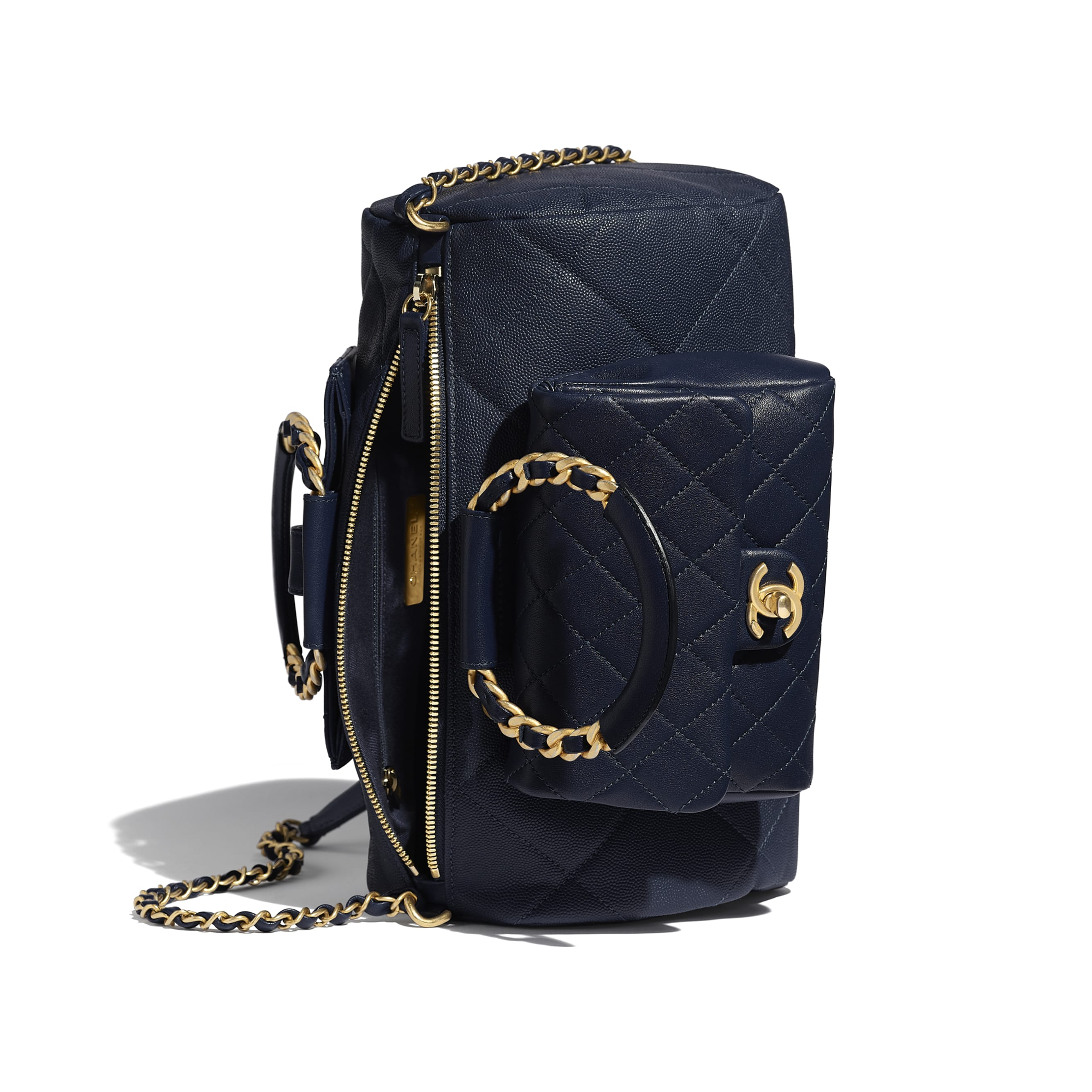 Bowling Bag - Navy Blue - Grained Calfskin, Lambskin & Gold Metal - Other view - see standard sized version