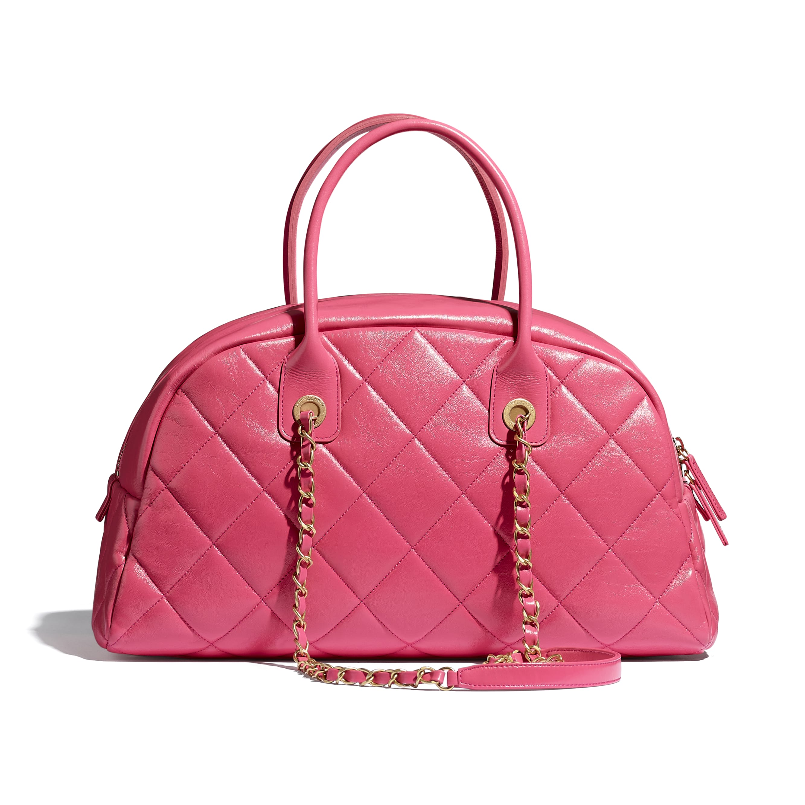 Bowling Bag - Pink - Calfskin & Gold-Tone Metal - CHANEL - Alternative view - see standard sized version
