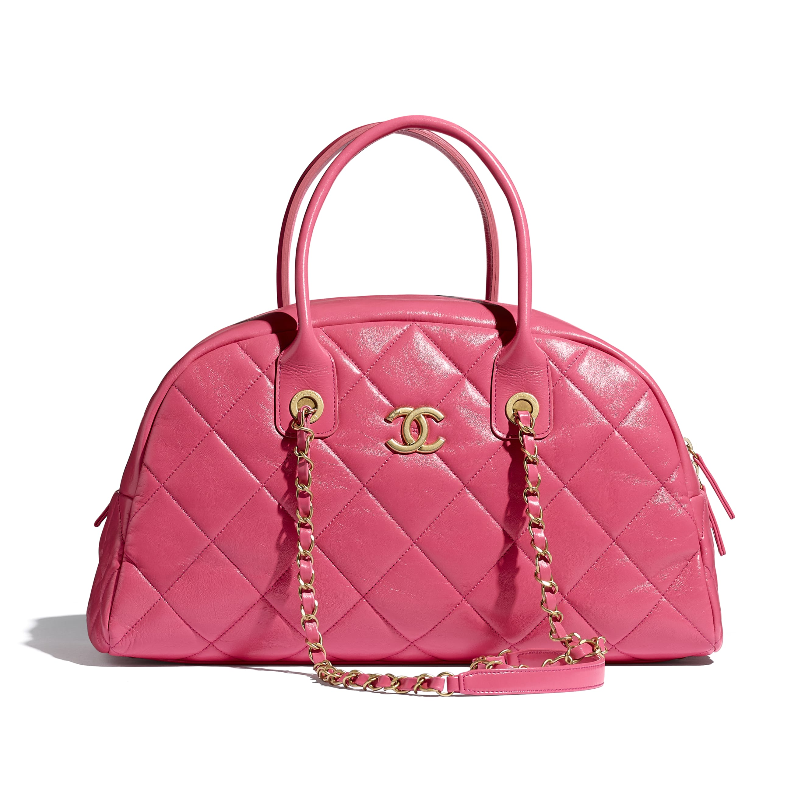 Bowling Bag - Pink - Calfskin & Gold-Tone Metal - CHANEL - Default view - see standard sized version
