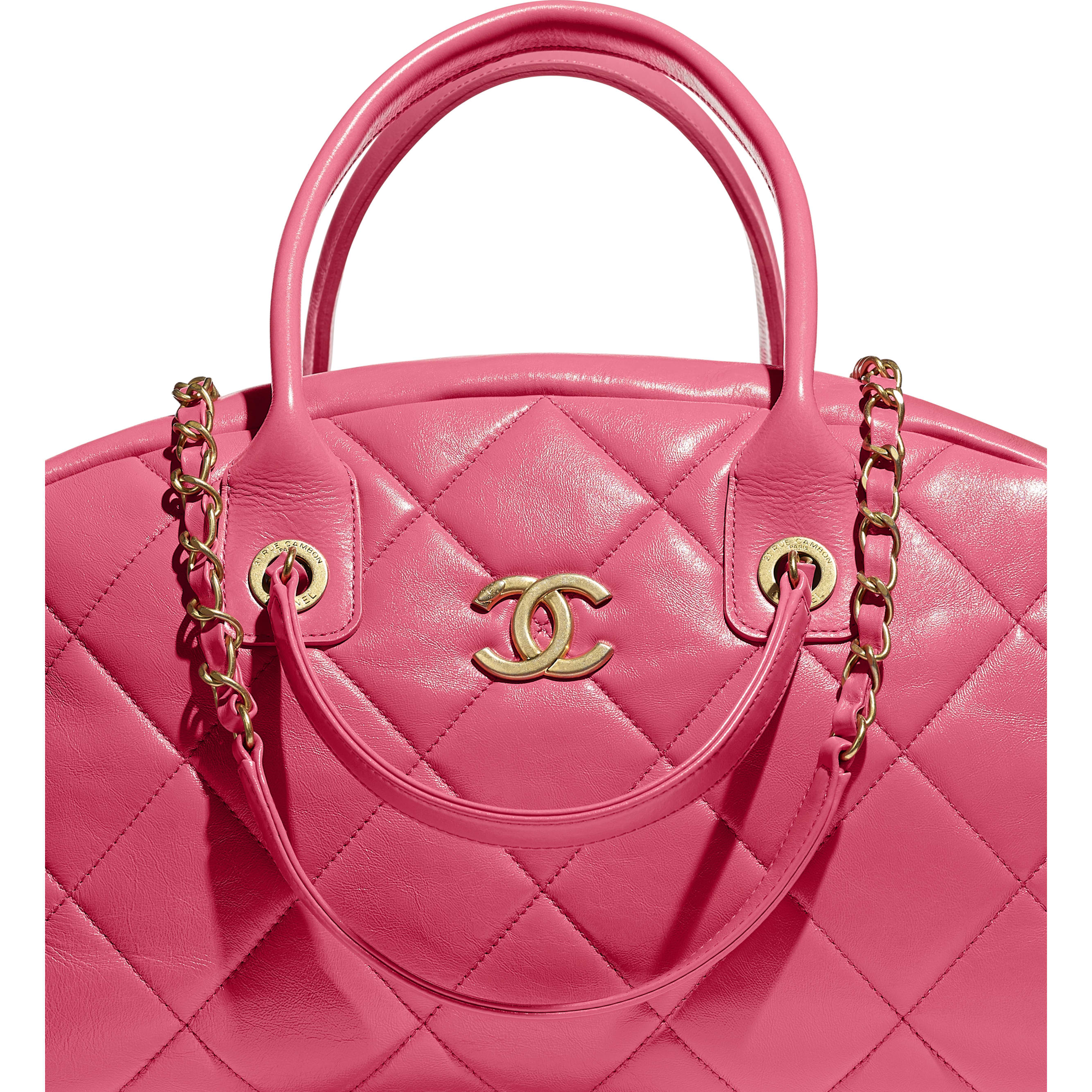 Bowling Bag - Pink - Calfskin & Gold-Tone Metal - CHANEL - Extra view - see standard sized version