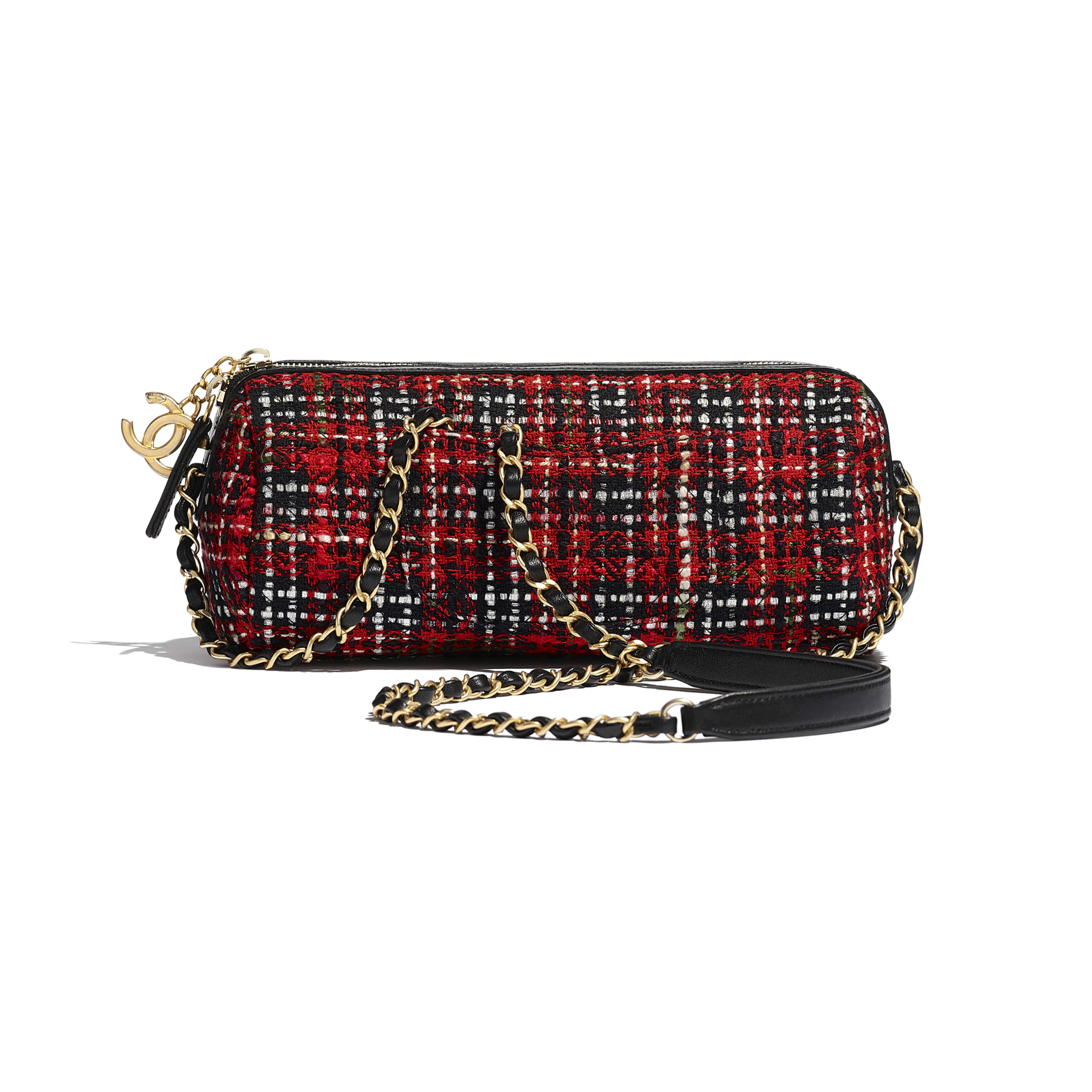 Bowling Bag - Red, Black, White & Green - Tweed, Calfskin & Gold-Tone Metal - CHANEL - Alternative view - see standard sized version