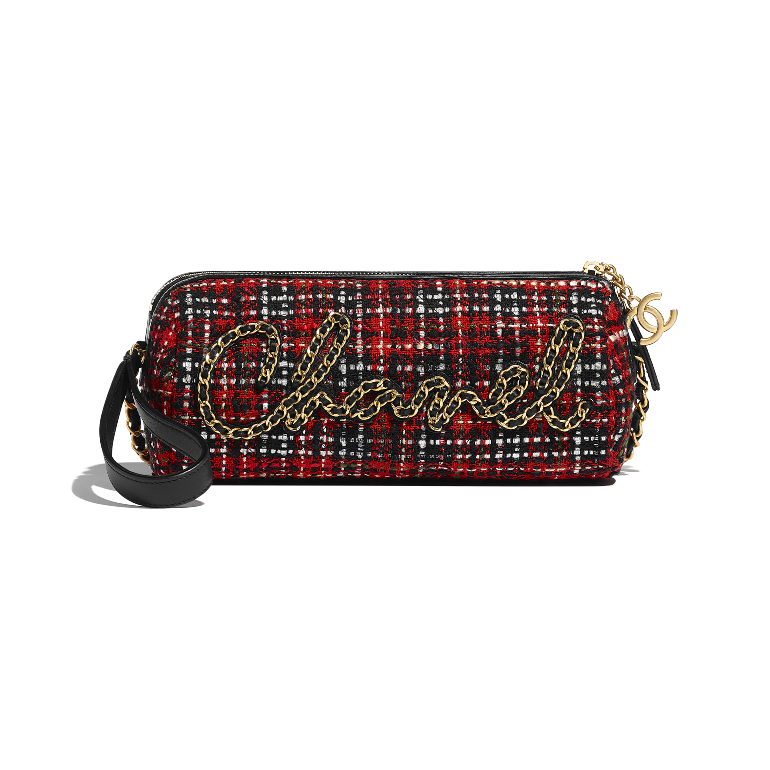 Bowling Bag - Red, Black, White & Green - Tweed, Calfskin & Gold-Tone Metal - CHANEL - Default view - see standard sized version