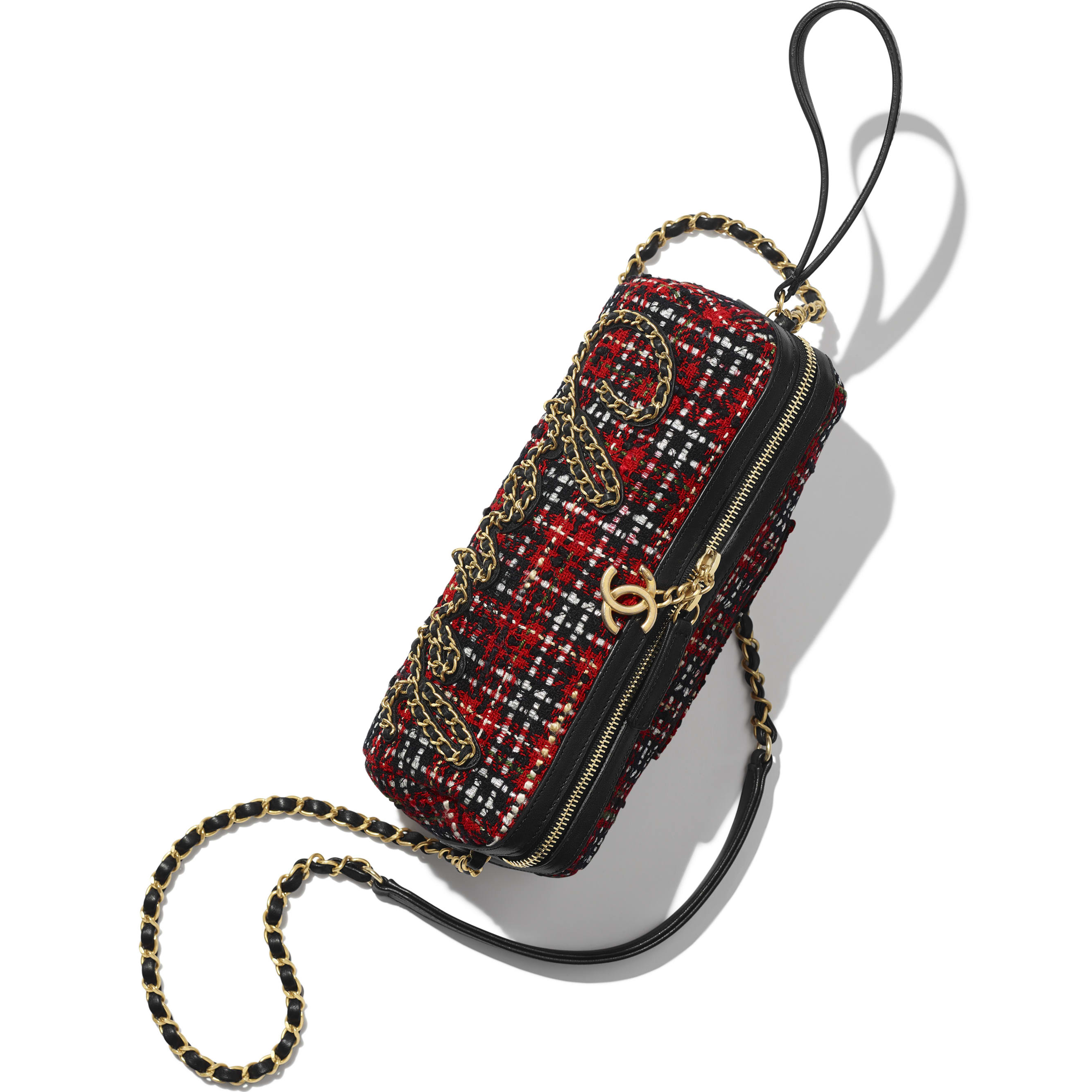 Bowling Bag - Red, Black, White & Green - Tweed, Calfskin & Gold-Tone Metal - CHANEL - Extra view - see standard sized version