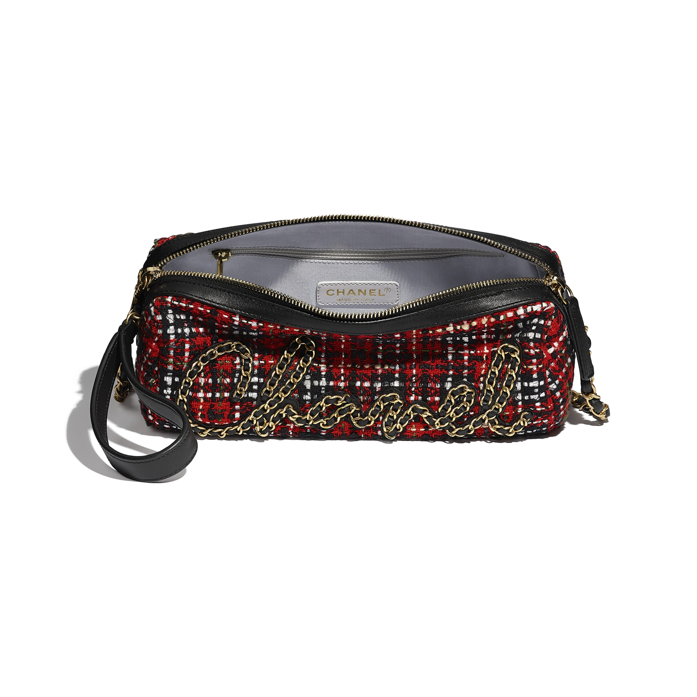 Bowling Bag - Red, Black, White & Green - Tweed, Calfskin & Gold-Tone Metal - CHANEL - Other view - see standard sized version
