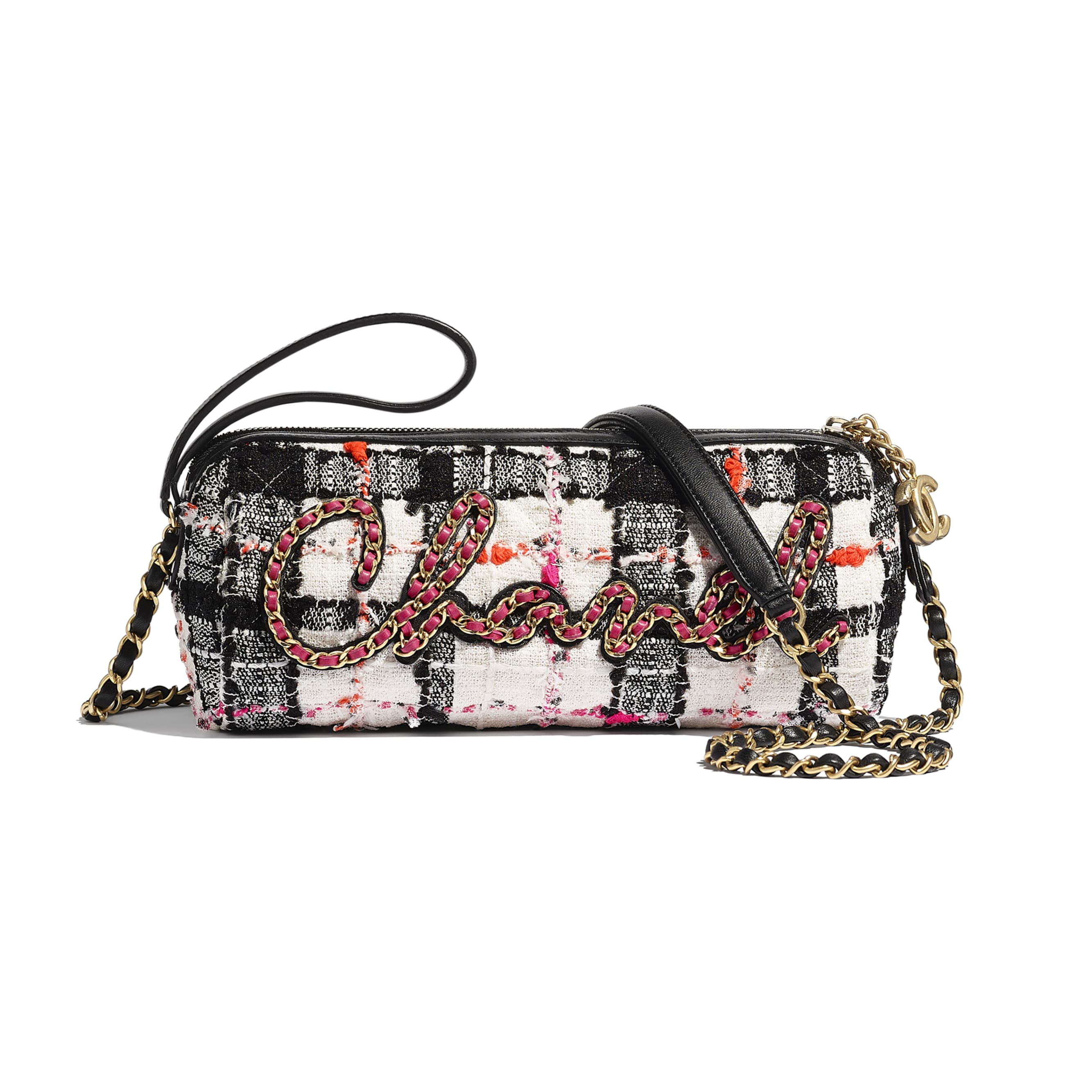 Bolsa Bowling - White, Black, Pink & Orange - Tweed, Calfskin & Gold-Tone Metal - CHANEL - Vista predefinida - ver a versão em tamanho standard