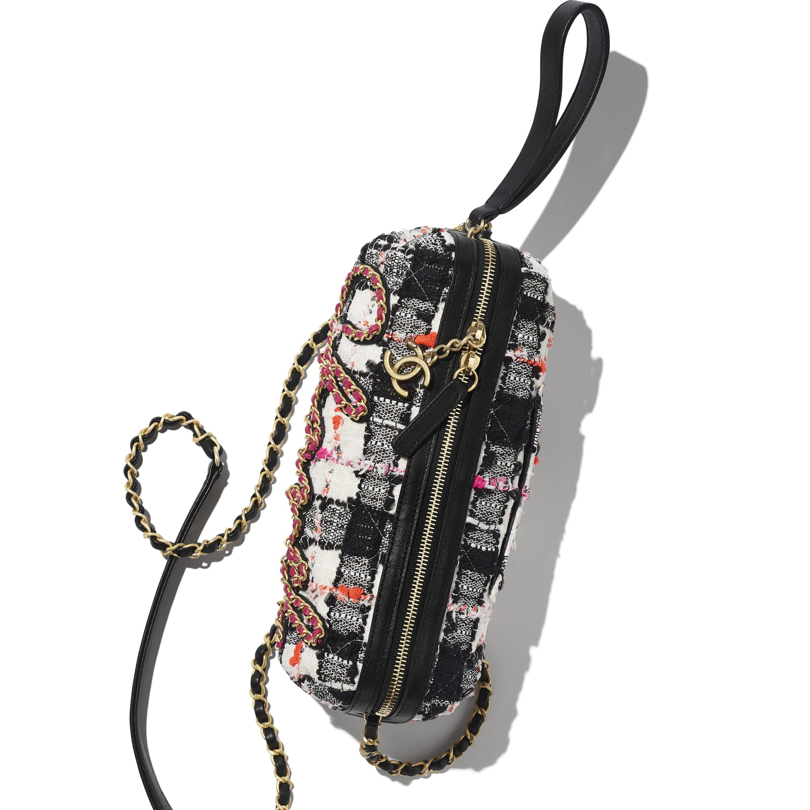 Bolsa Bowling - White, Black, Pink & Orange - Tweed, Calfskin & Gold-Tone Metal - CHANEL - Vista extra - ver a versão em tamanho standard