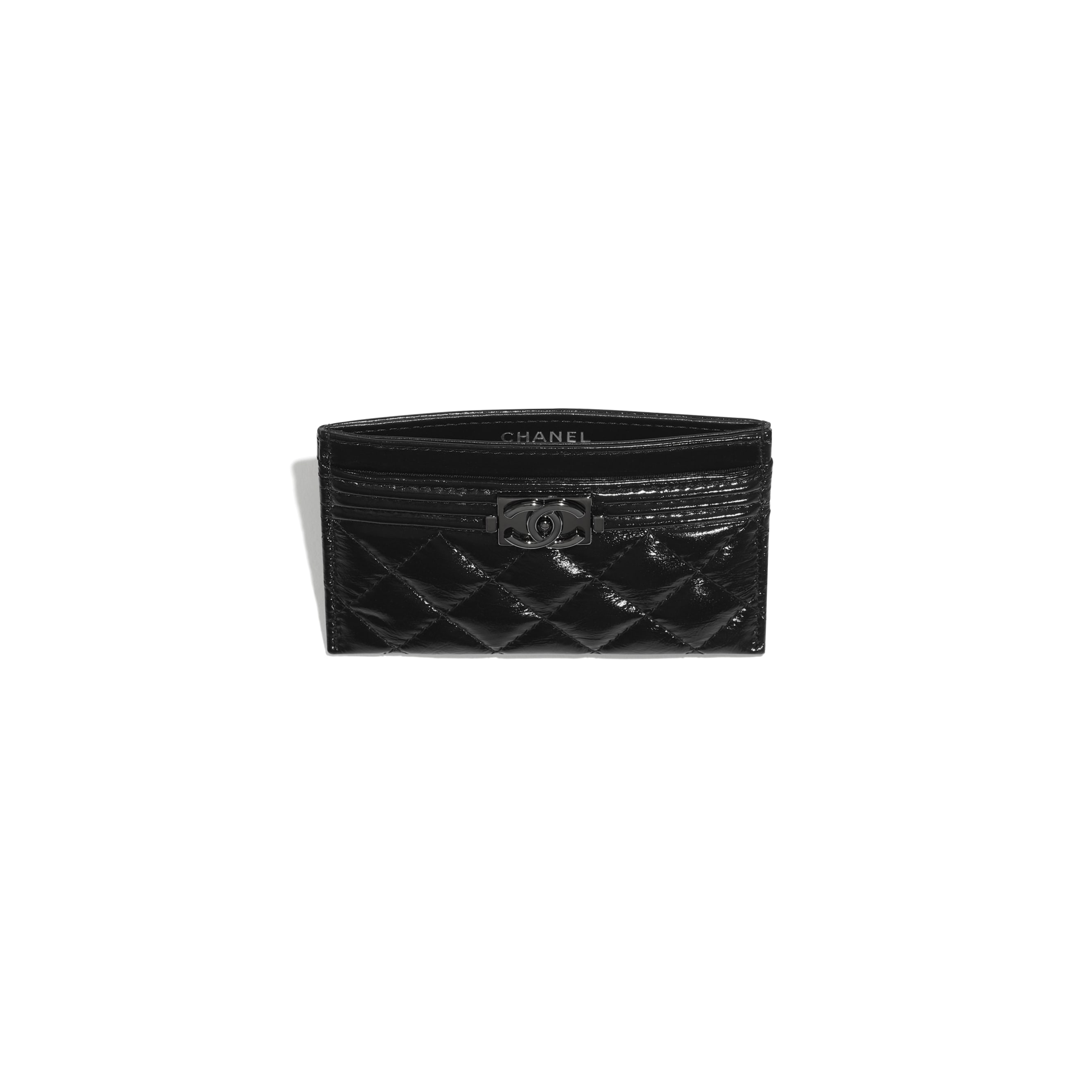 BOY CHANEL Card Holder - Black - Aged Calfskin & Ruthenium-Finish Metal - CHANEL - Other view - see standard sized version