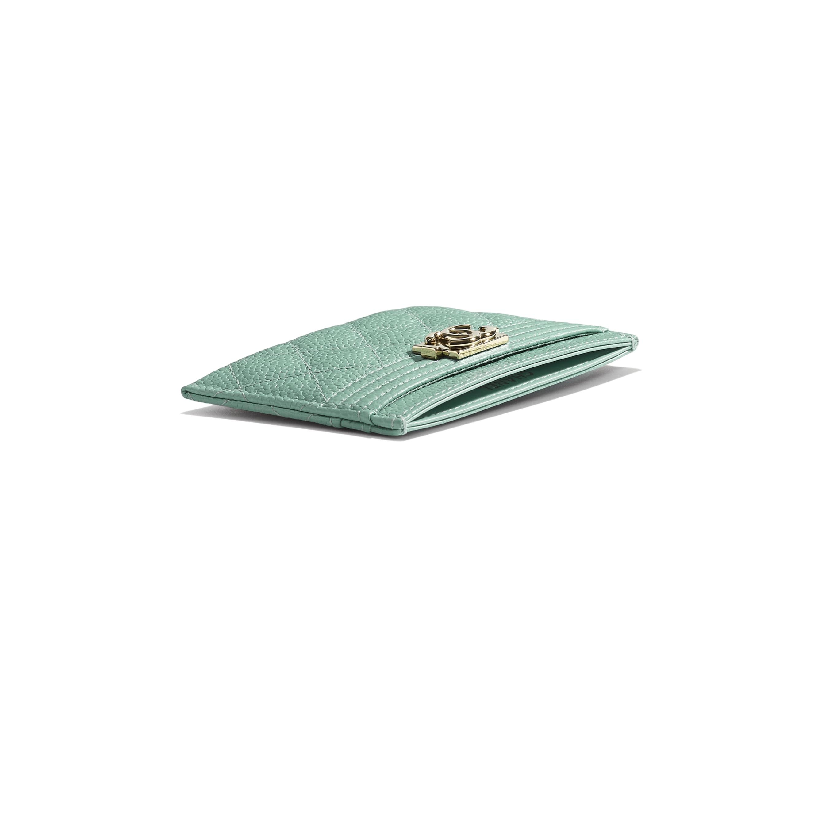 Kartenetui BOY CHANEL - Blau - Genarbtes Kalbsleder & goldfarbenes Metall - Extra-Ansicht - Standardgröße anzeigen