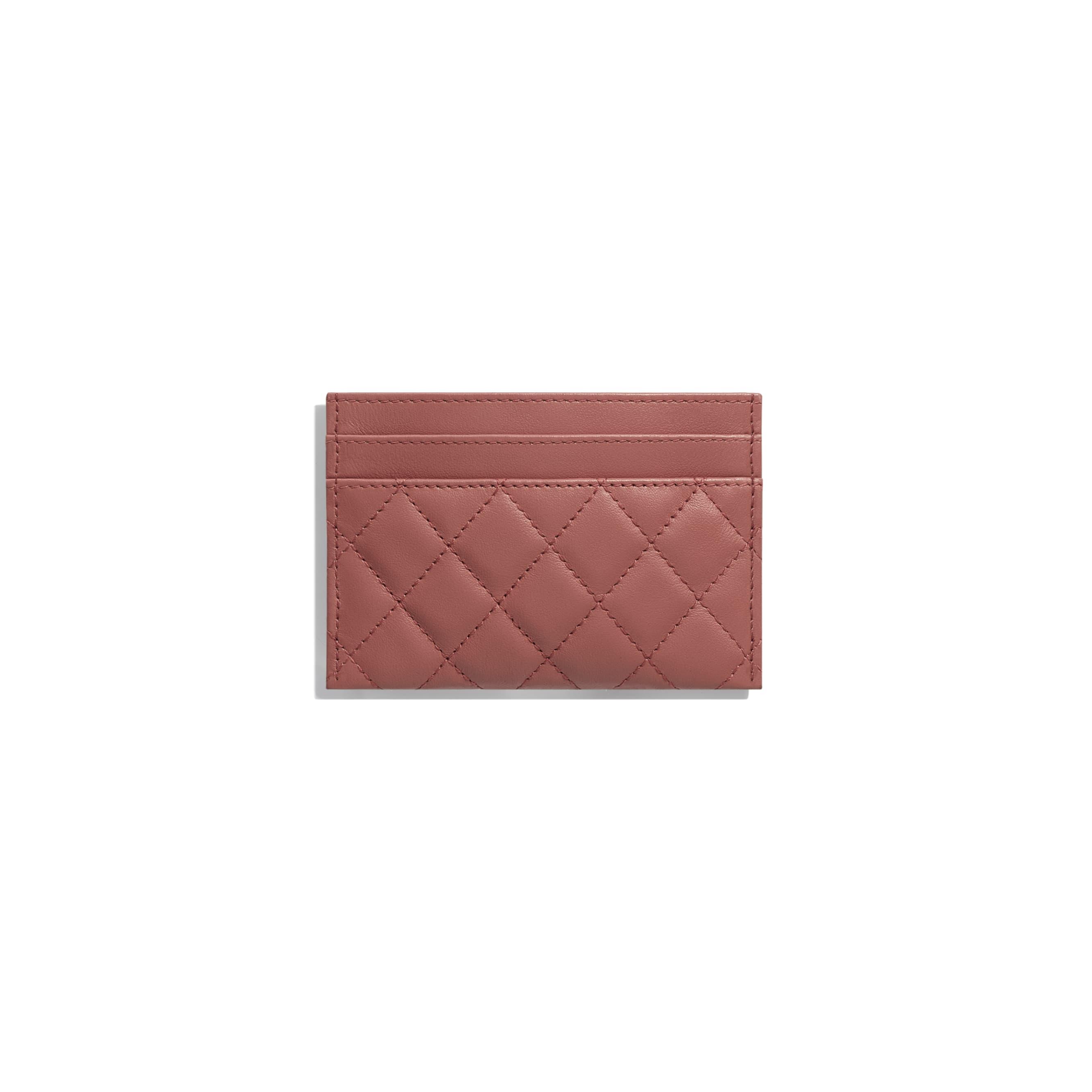 BOY CHANEL Card Holder - Dark Red - Calfskin & Gold-Tone Metal - Alternative view - see standard sized version