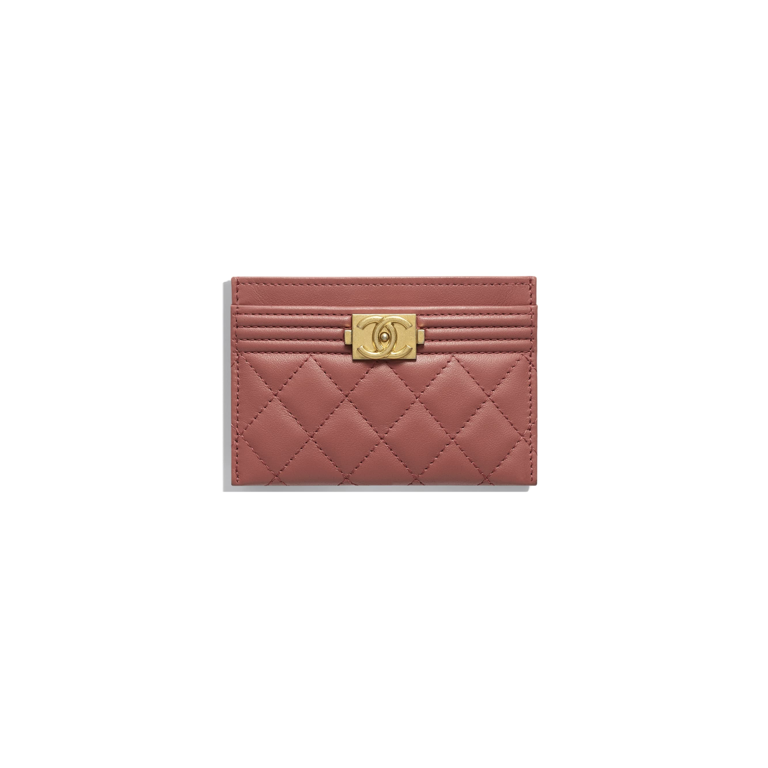 BOY CHANEL Card Holder - Dark Red - Calfskin & Gold-Tone Metal - Default view - see standard sized version
