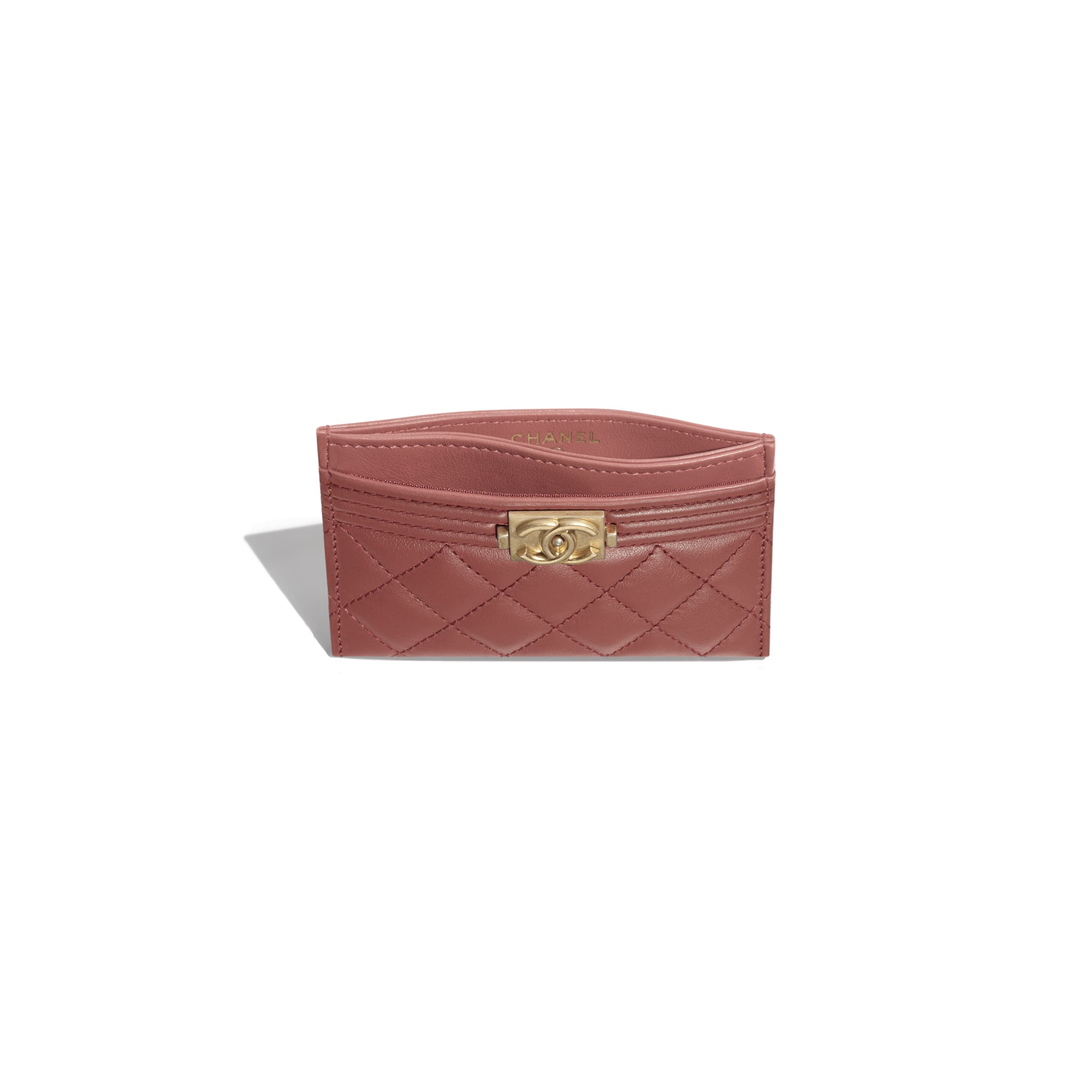BOY CHANEL Card Holder - Dark Red - Calfskin & Gold-Tone Metal - Other view - see standard sized version