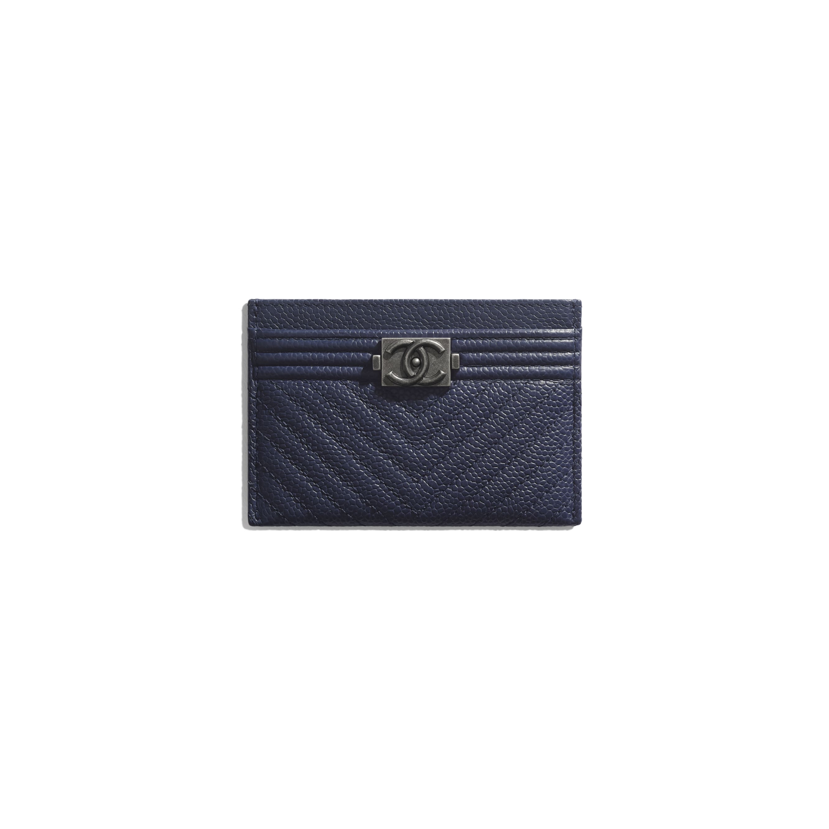 BOY CHANEL Card Holder - Navy Blue - Grained Calfskin & Ruthenium-Finish Metal - Default view - see standard sized version
