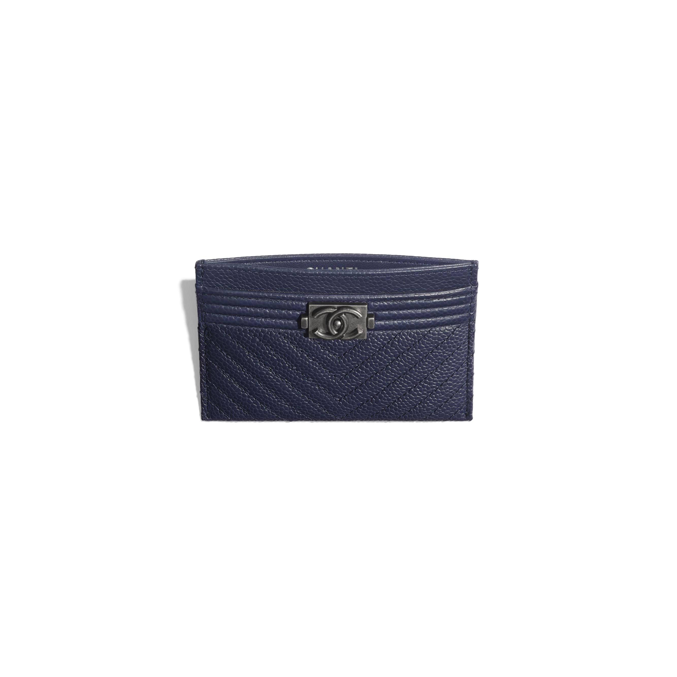 BOY CHANEL Card Holder - Navy Blue - Grained Calfskin & Ruthenium-Finish Metal - Other view - see standard sized version