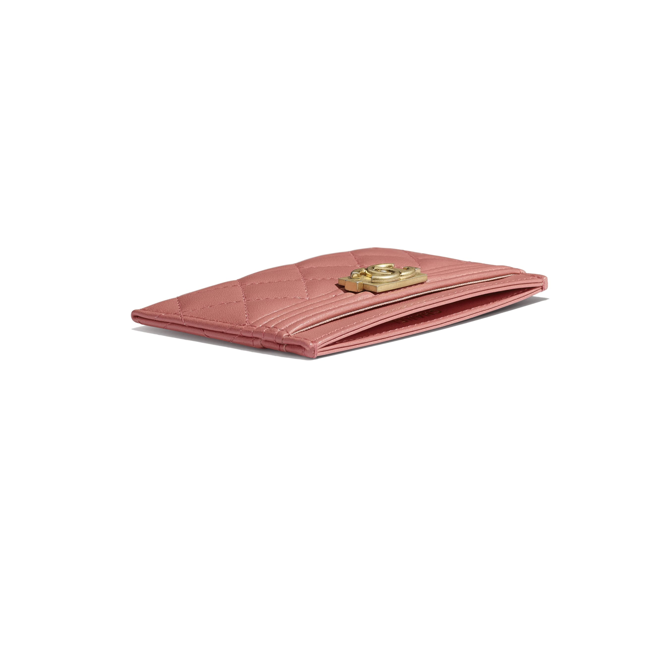 BOY CHANEL Card Holder - Pink - Lambskin - Extra view - see standard sized version