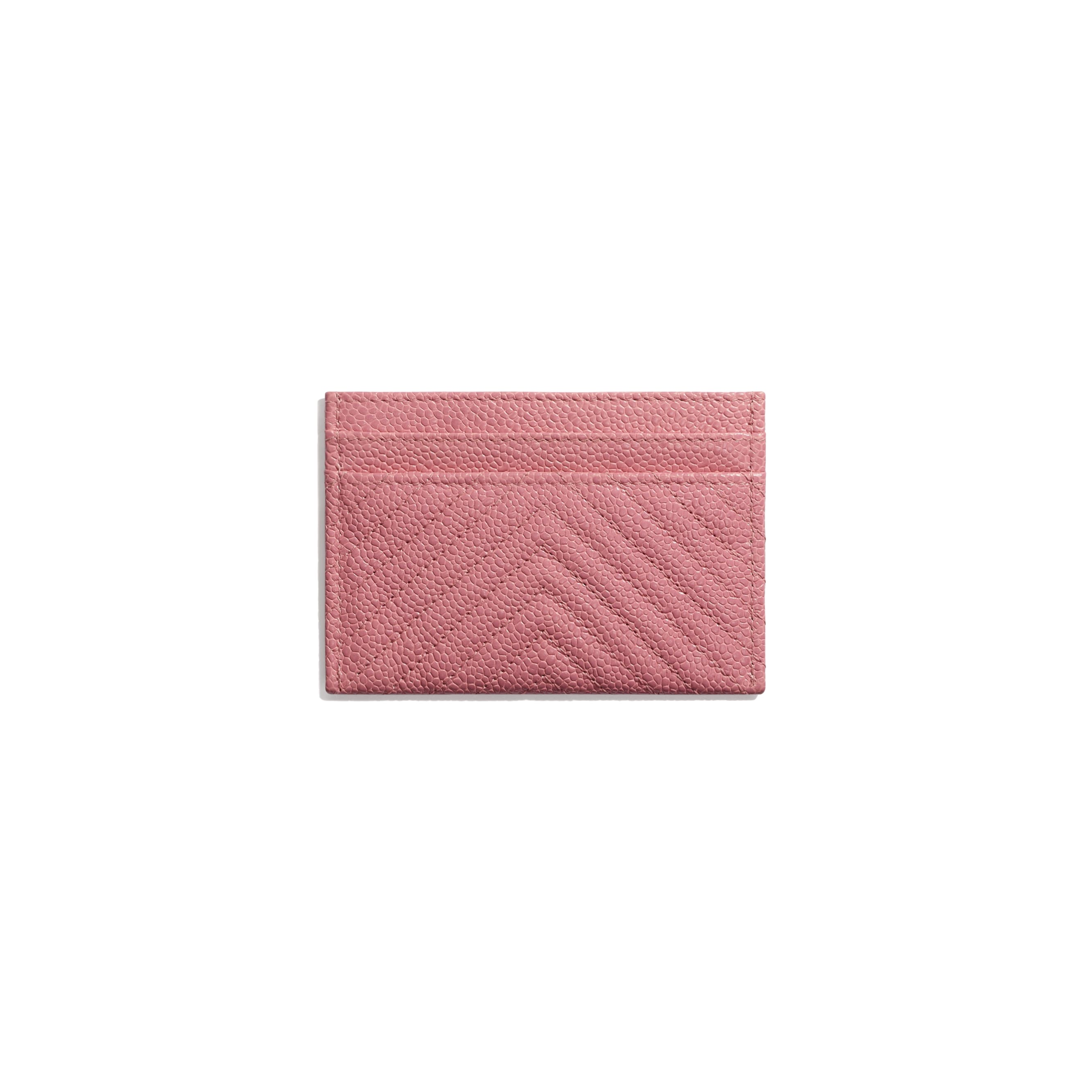BOY CHANEL Card Holder - Pink - Shiny Grained Calfskin & Silver-Tone Metal - CHANEL - Alternative view - see standard sized version