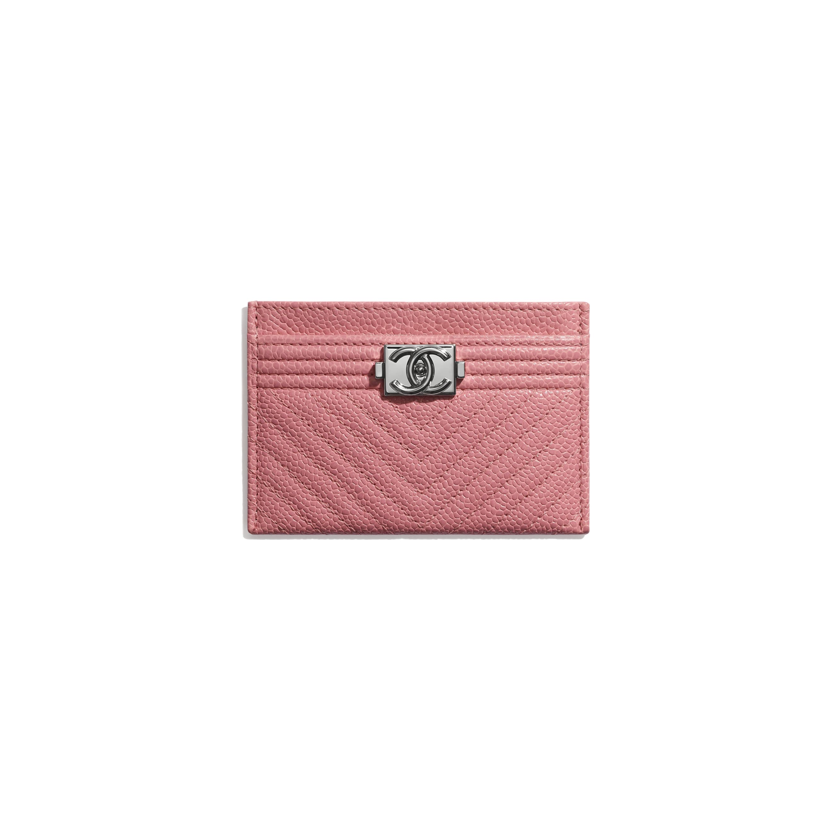 BOY CHANEL Card Holder - Pink - Shiny Grained Calfskin & Silver-Tone Metal - CHANEL - Default view - see standard sized version