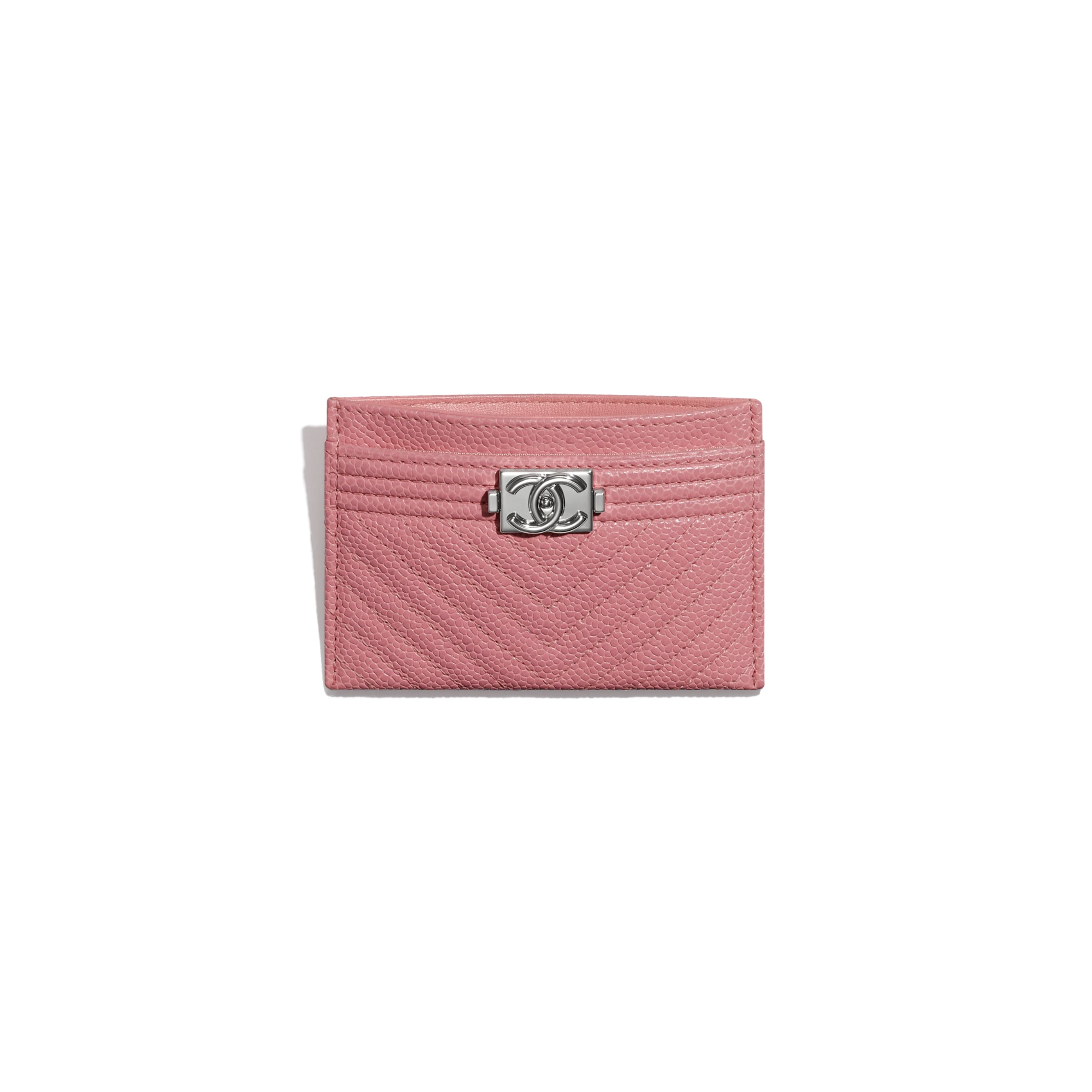 BOY CHANEL Card Holder - Pink - Shiny Grained Calfskin & Silver-Tone Metal - CHANEL - Other view - see standard sized version