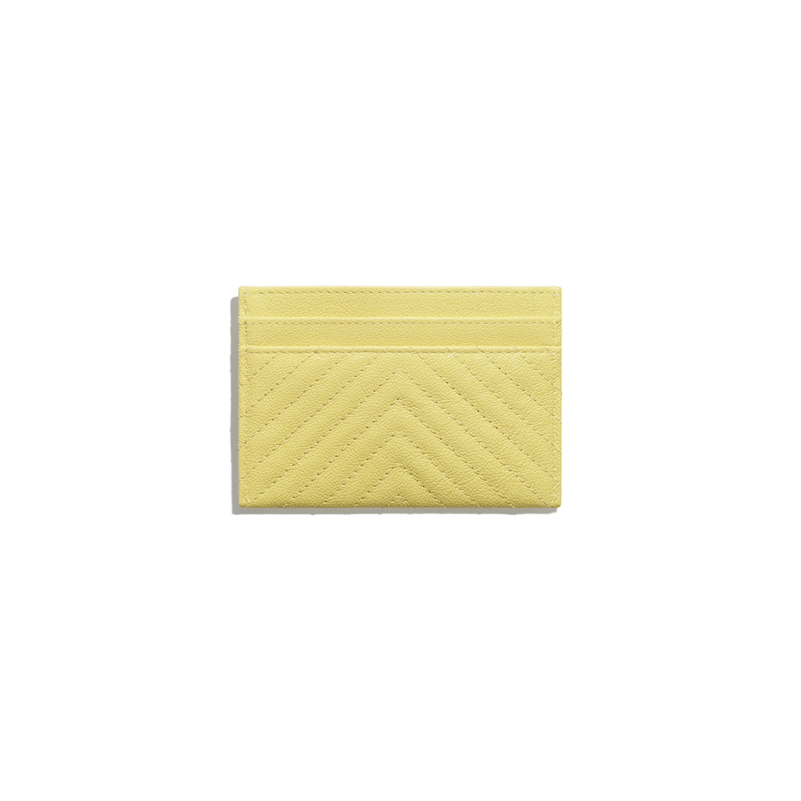 BOY CHANEL Card Holder - Yellow - Grained Calfskin & Gold-Tone Metal - CHANEL - Alternative view - see standard sized version
