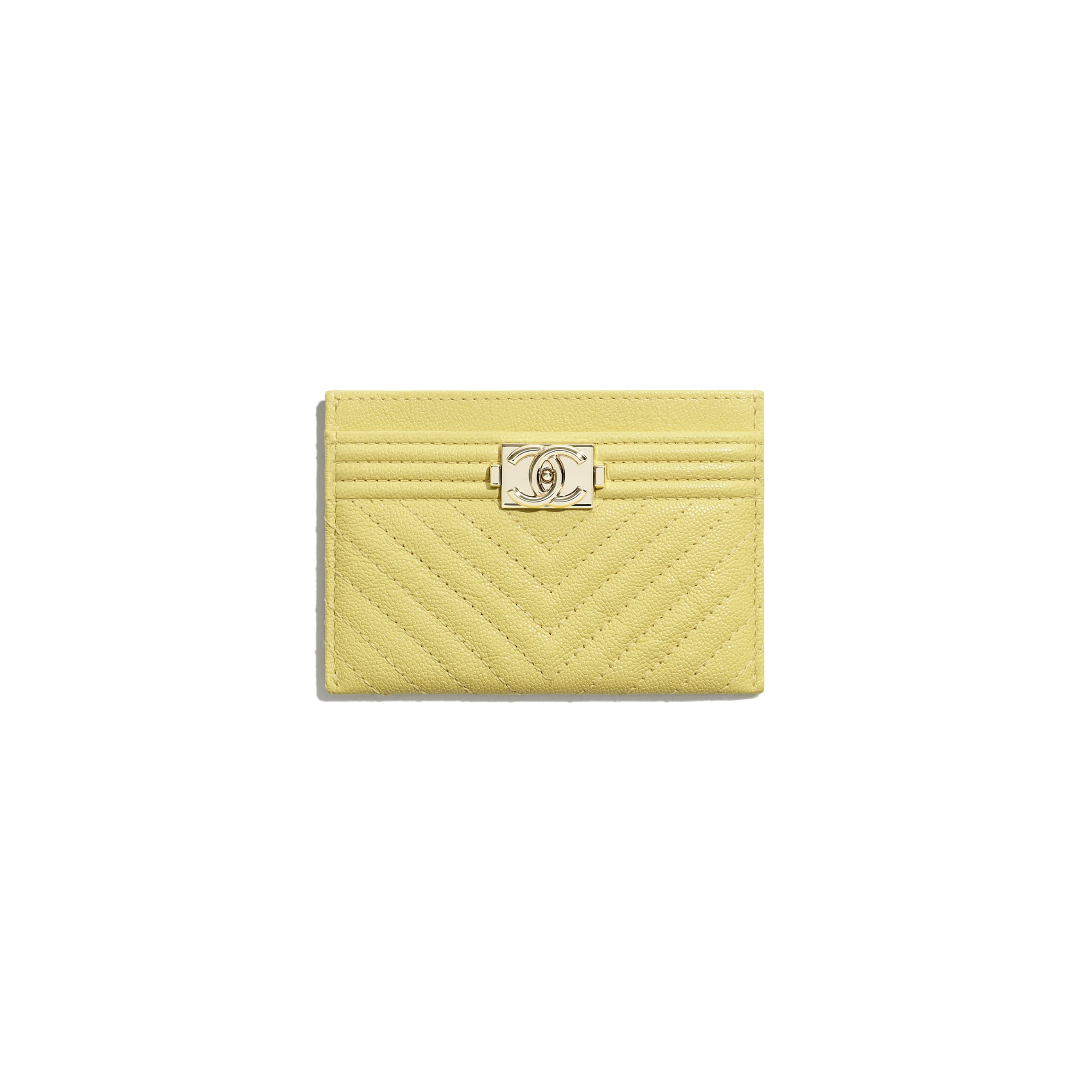 BOY CHANEL Card Holder - Yellow - Grained Calfskin & Gold-Tone Metal - CHANEL - Default view - see standard sized version