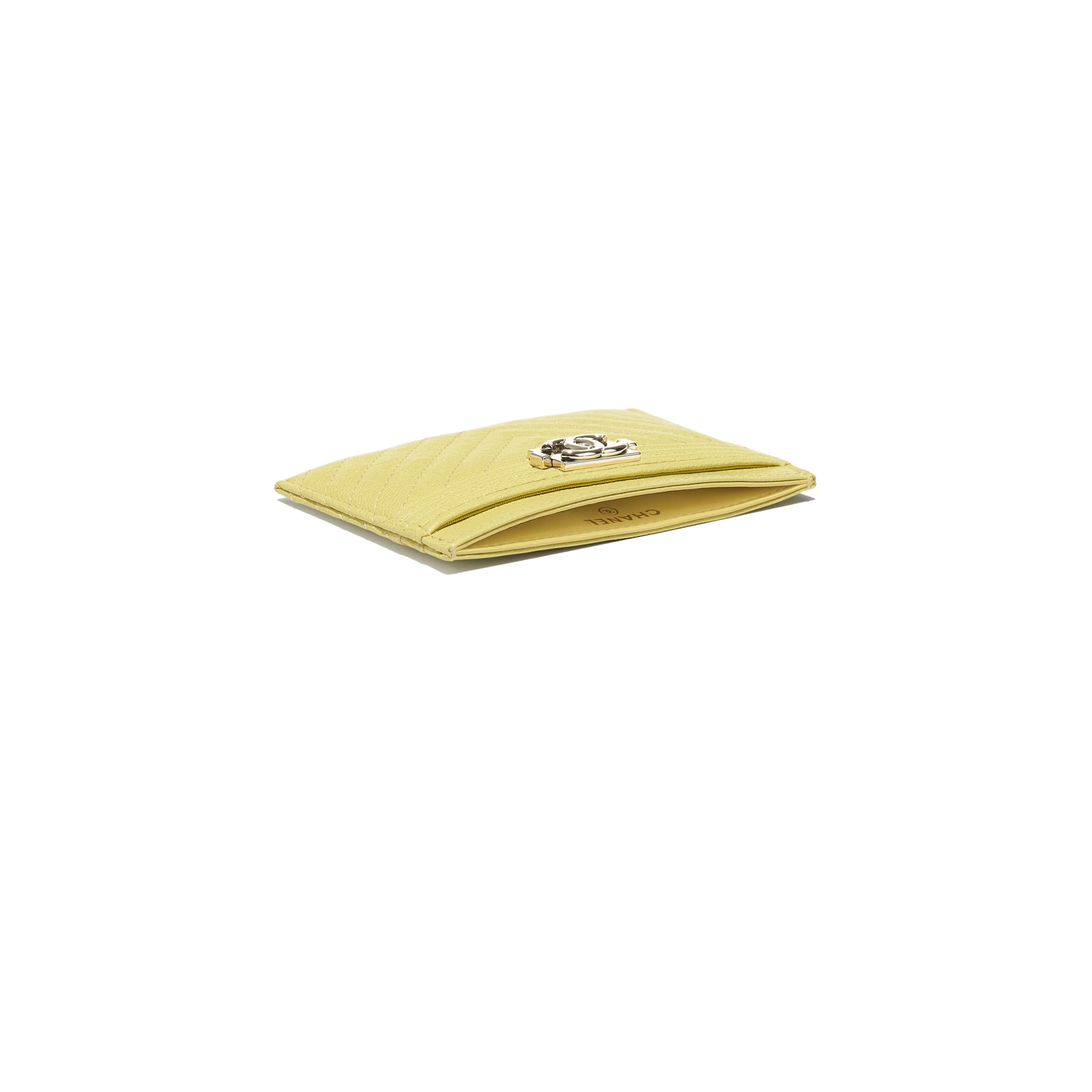 BOY CHANEL Card Holder - Yellow - Grained Calfskin & Gold-Tone Metal - CHANEL - Extra view - see standard sized version