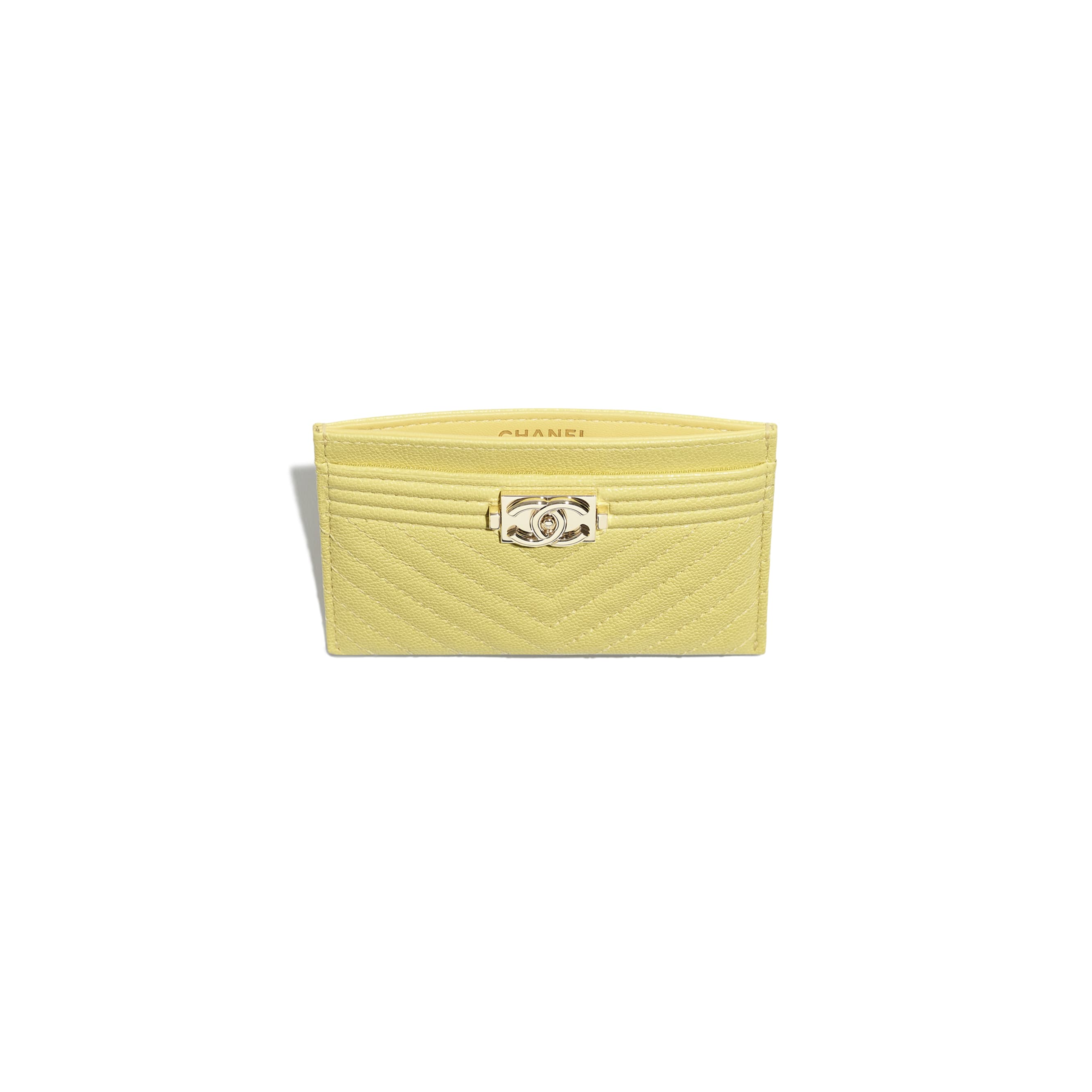BOY CHANEL Card Holder - Yellow - Grained Calfskin & Gold-Tone Metal - CHANEL - Other view - see standard sized version