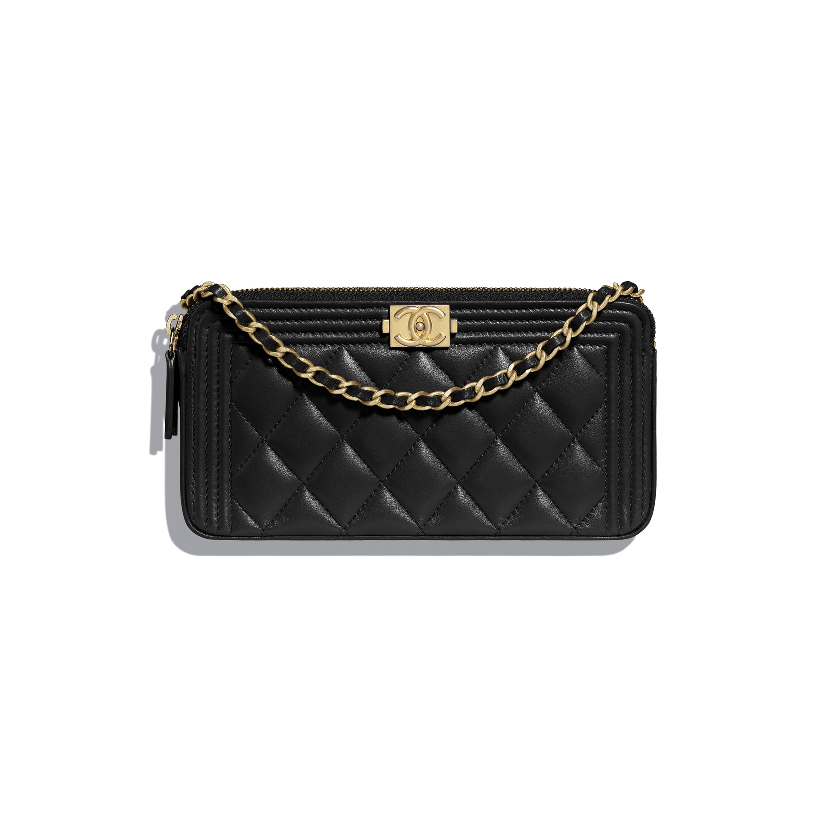 BOY CHANEL Clutch With Chain - Black - Lambskin - Default view - see standard sized version
