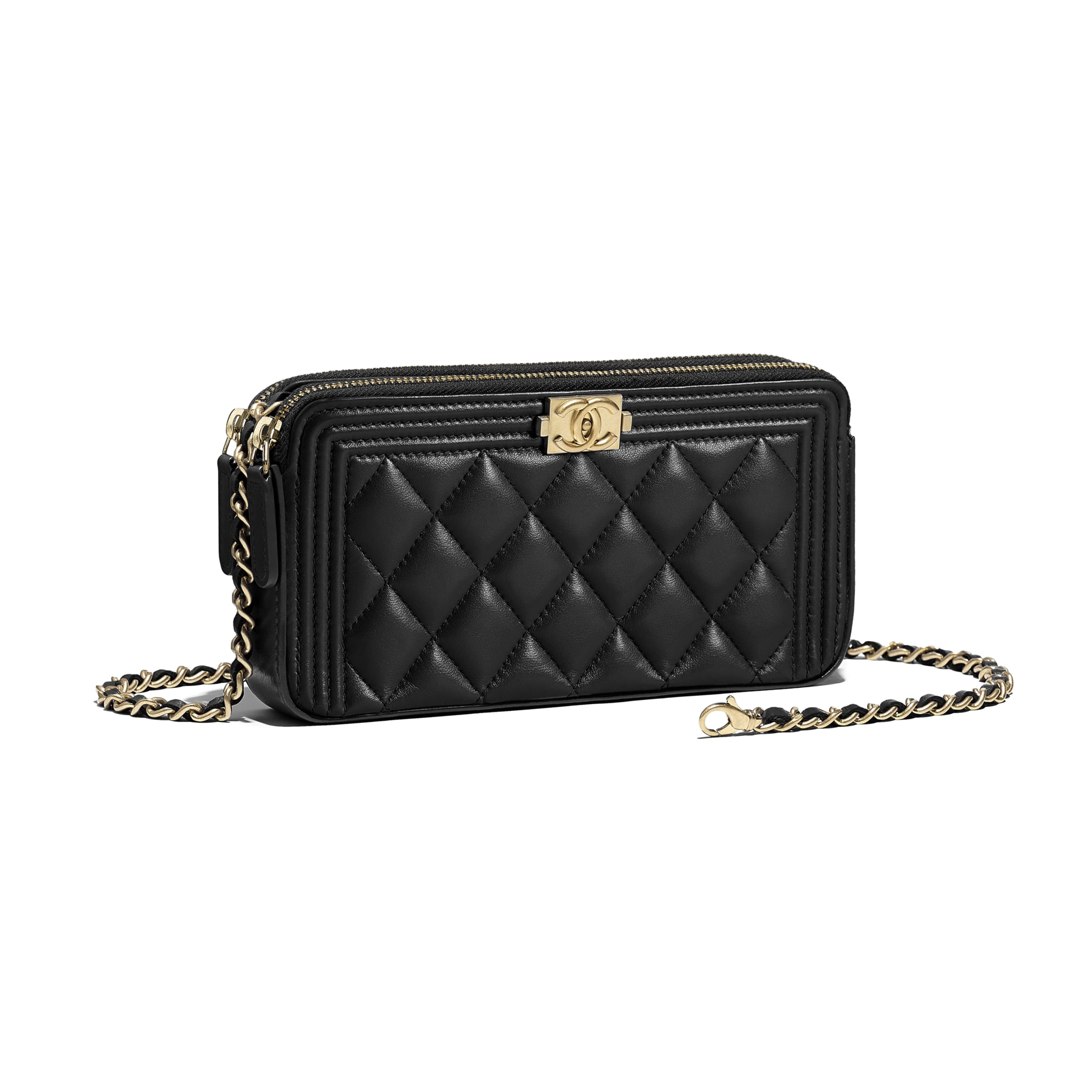 BOY CHANEL Clutch With Chain - Black - Lambskin - Other view - see standard sized version