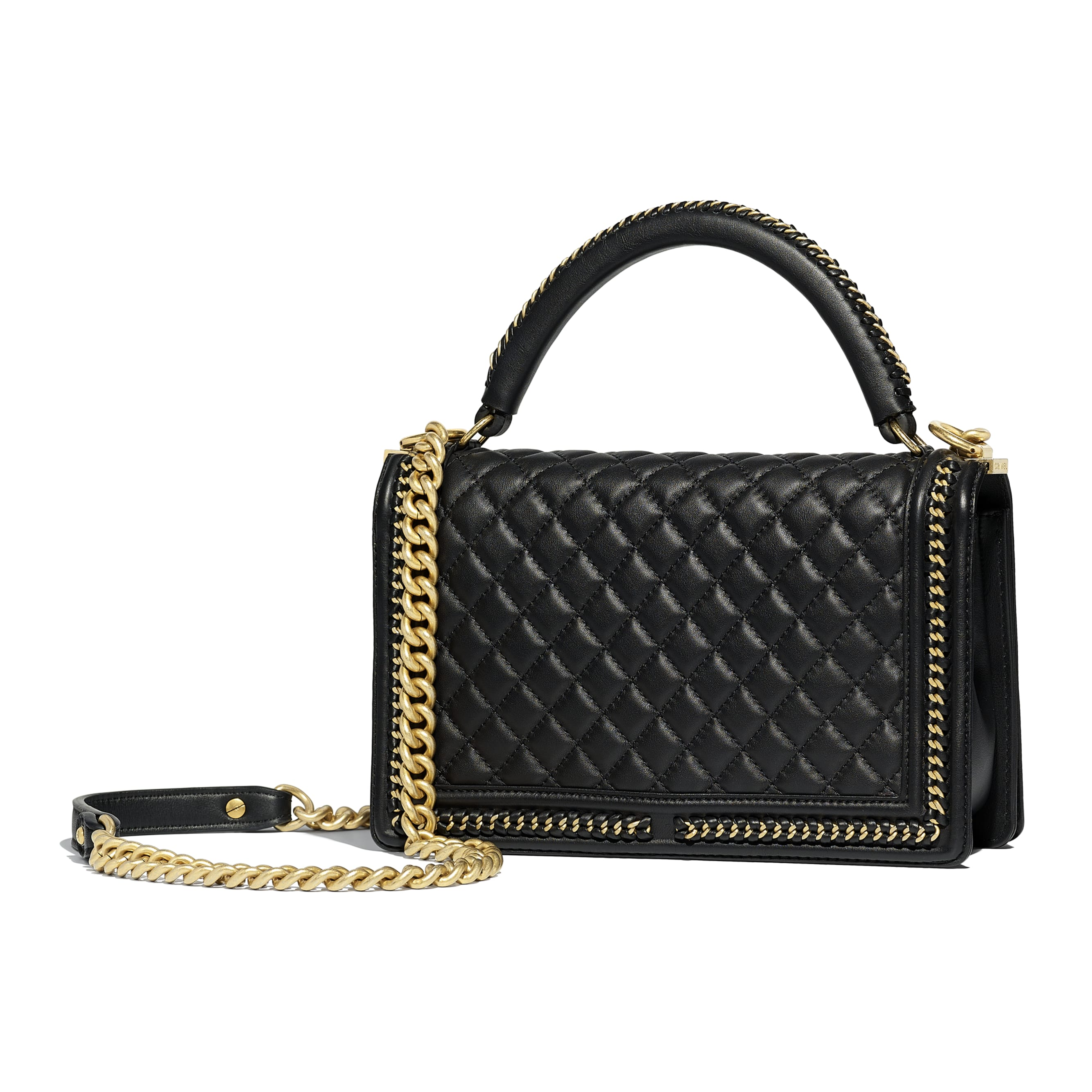 Boy Chanel Flap Bag With Handle Black Calfskin Gold Tone Metal