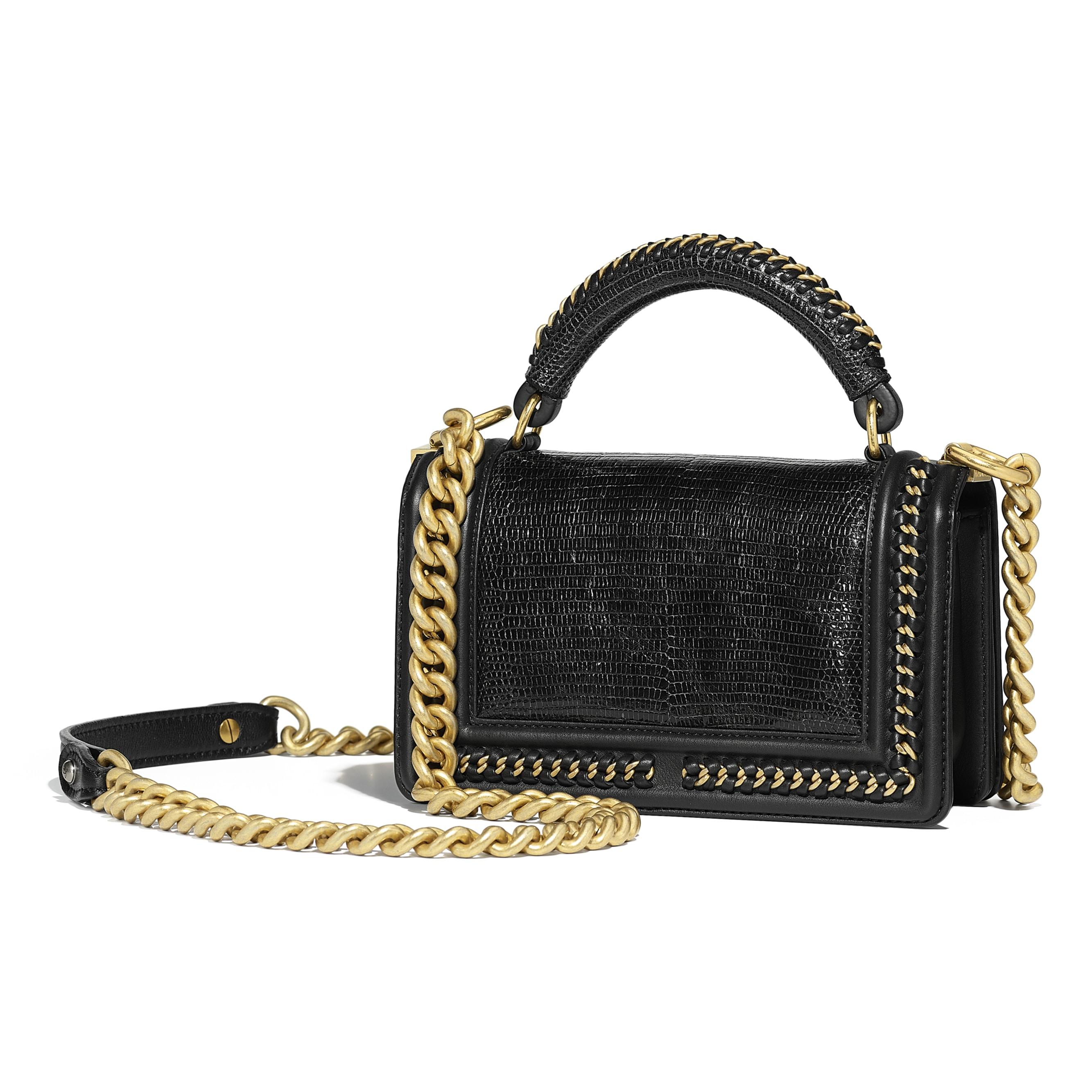 BOY CHANEL Flap Bag with Handle - Black - Lizard, Calfskin & Gold-Tone Metal - Alternative view - see standard sized version