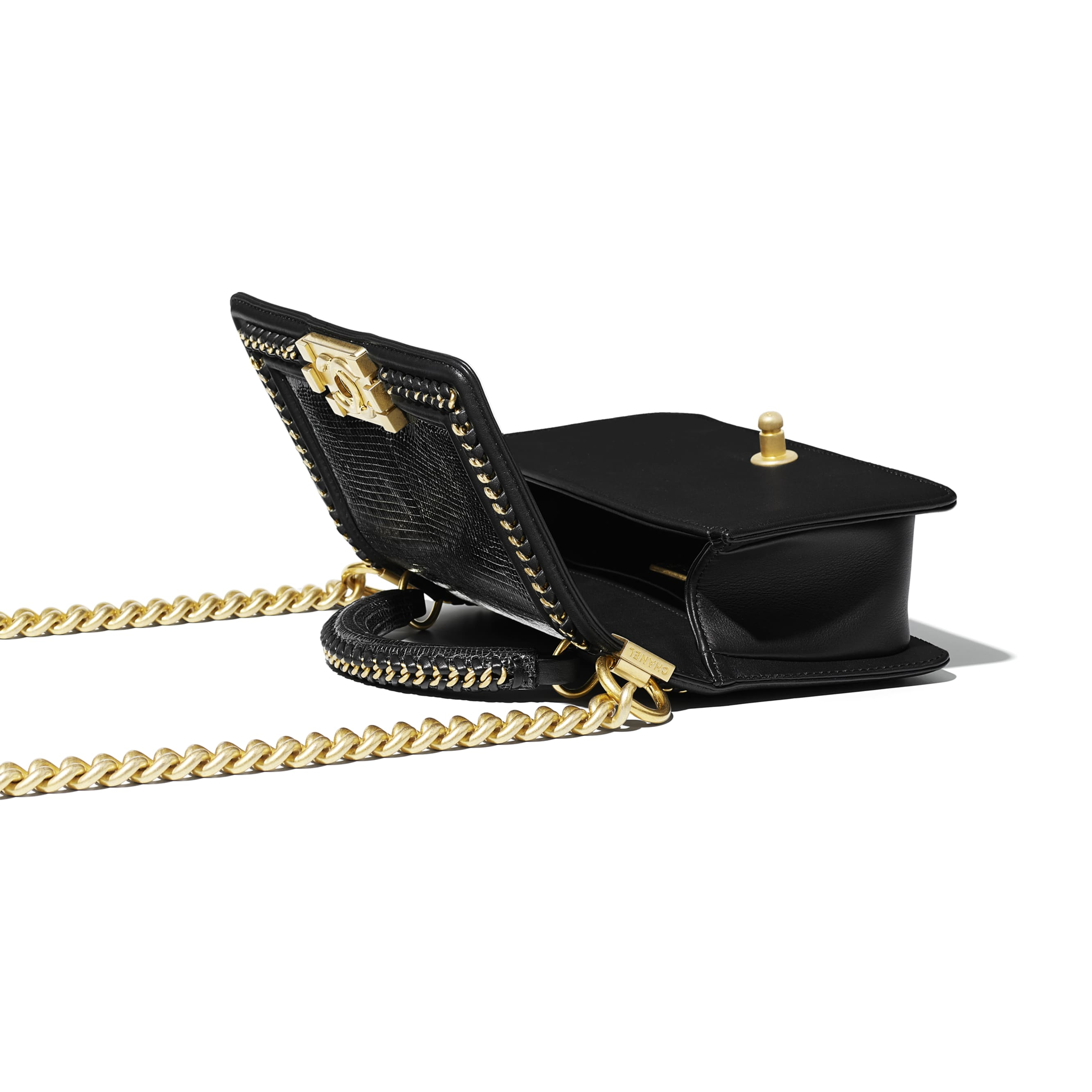 BOY CHANEL Flap Bag with Handle - Black - Lizard, Calfskin & Gold-Tone Metal - Other view - see standard sized version