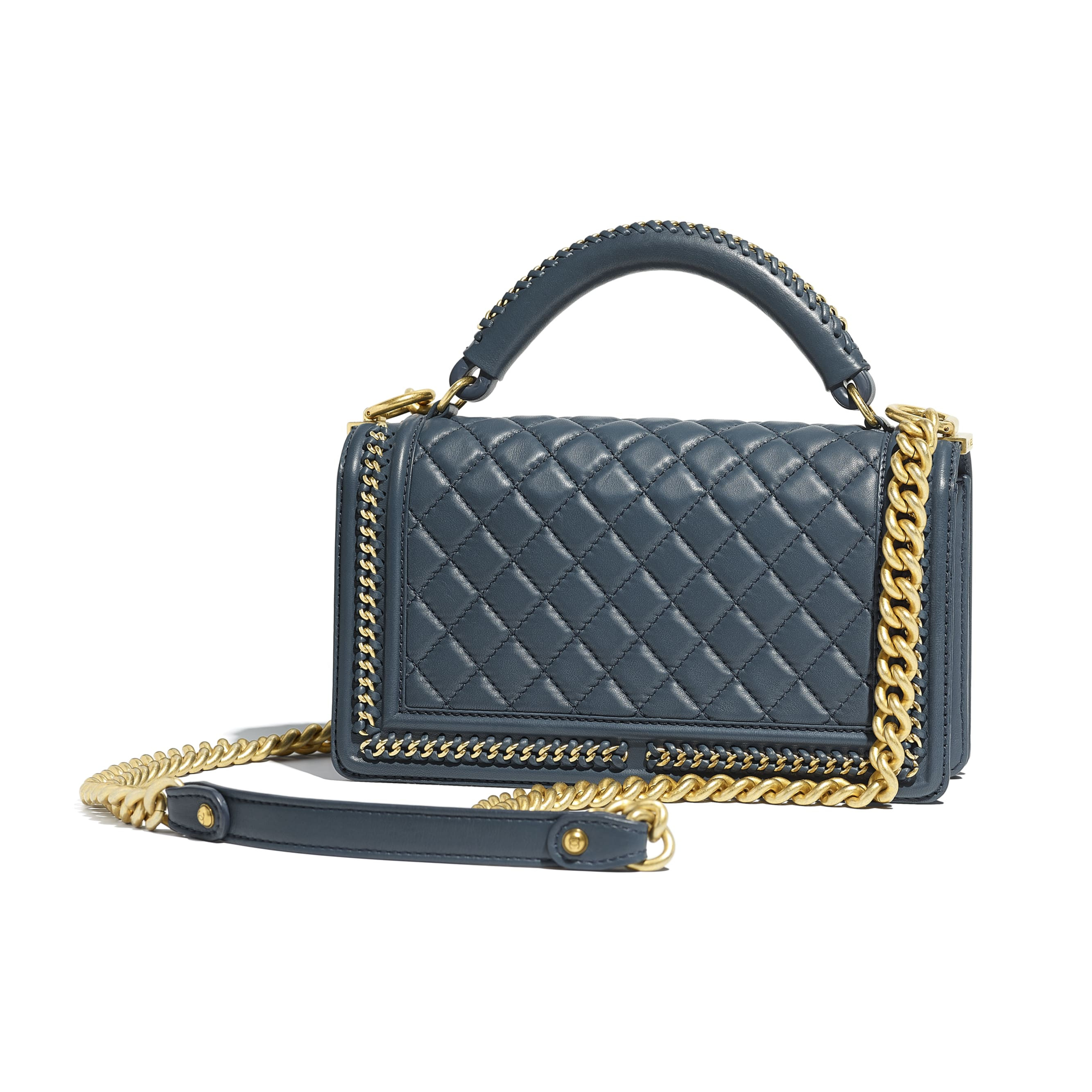 BOY CHANEL Flap Bag with Handle - Blue - Calfskin & Gold-Tone Metal - Alternative view - see standard sized version