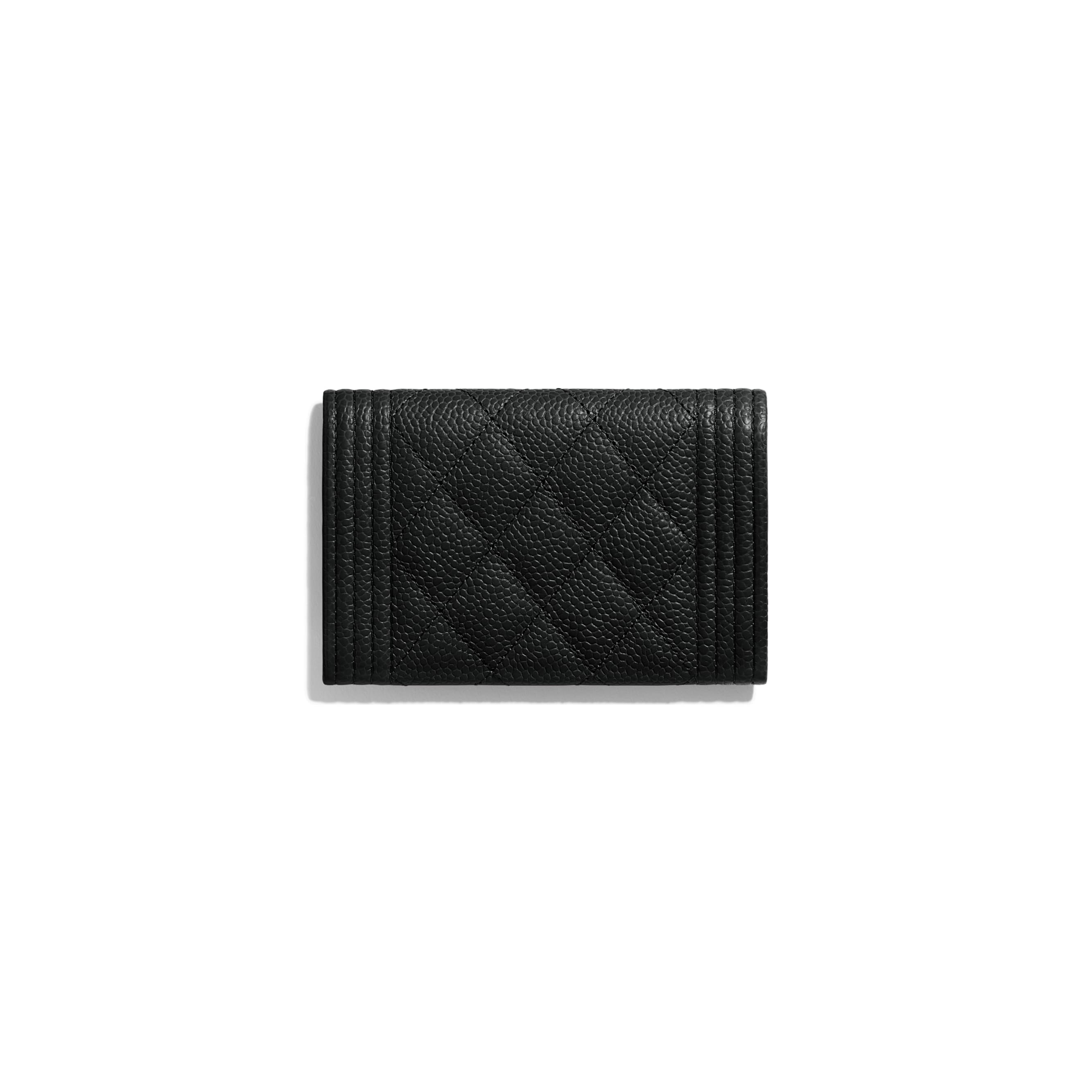 BOY CHANEL Flap Card Holder - Black - Grained Calfskin & Gold-Tone Metal - CHANEL - Alternative view - see standard sized version