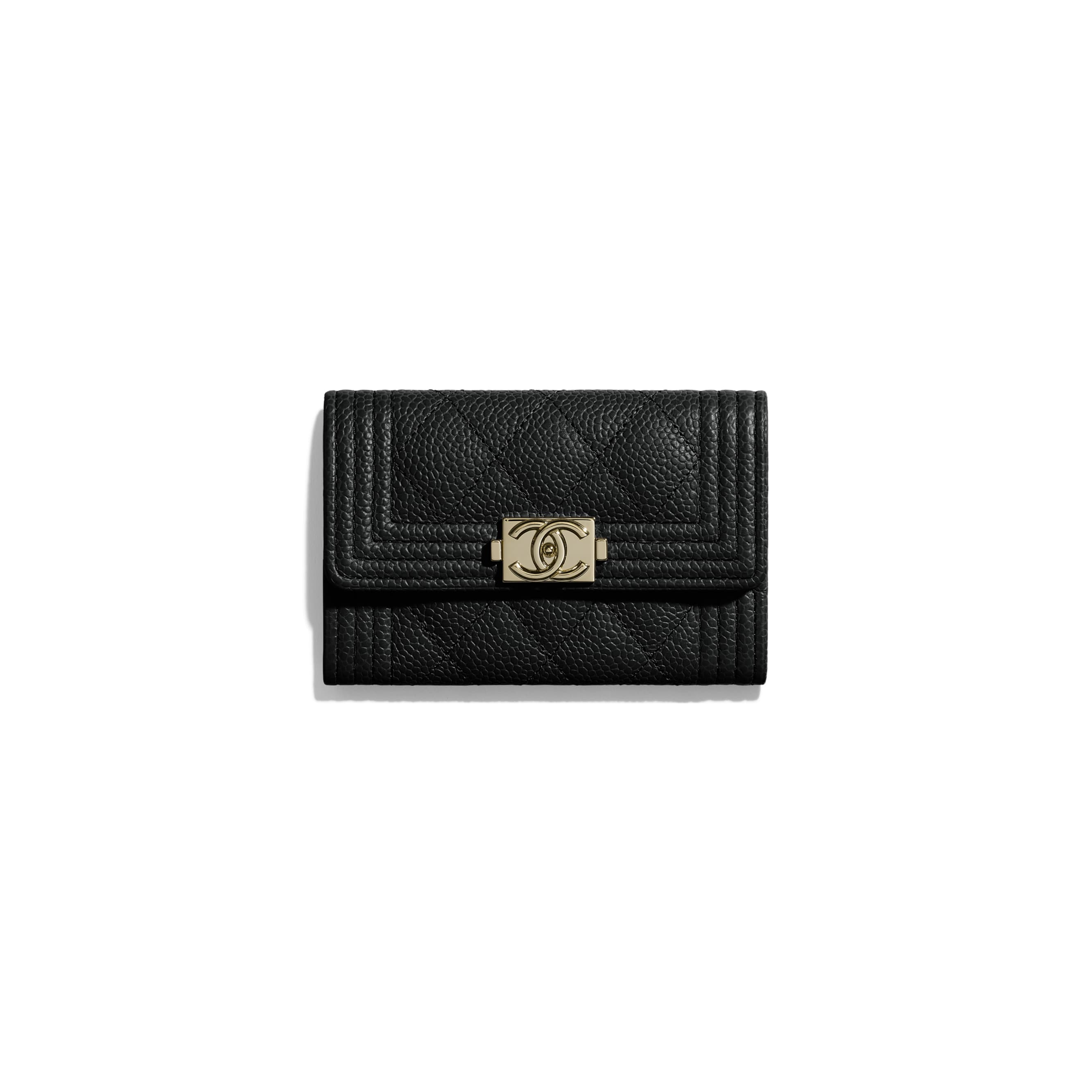 BOY CHANEL Flap Card Holder - Black - Grained Calfskin & Gold-Tone Metal - Default view - see standard sized version