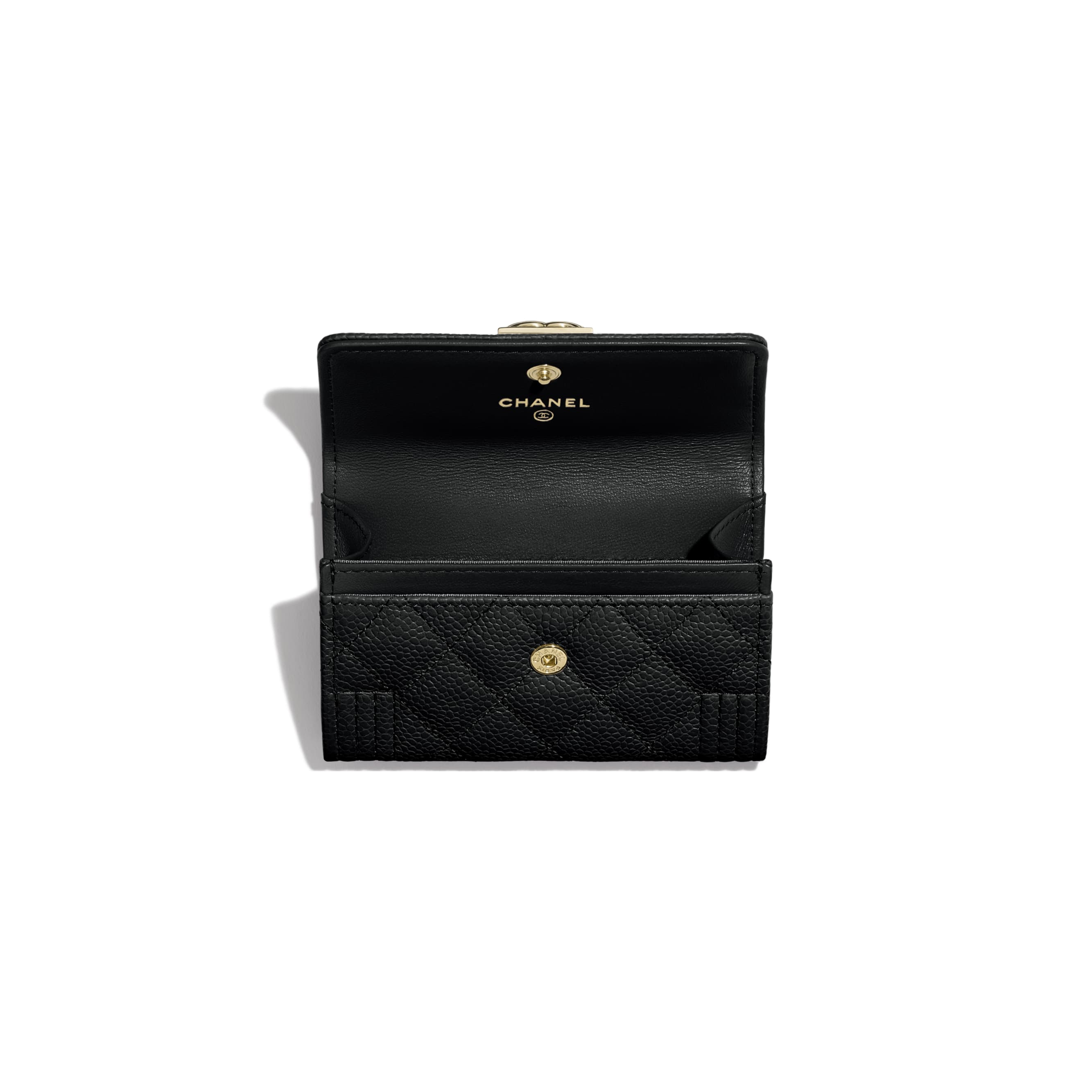 BOY CHANEL Flap Card Holder - Black - Grained Calfskin & Gold-Tone Metal - CHANEL - Other view - see standard sized version