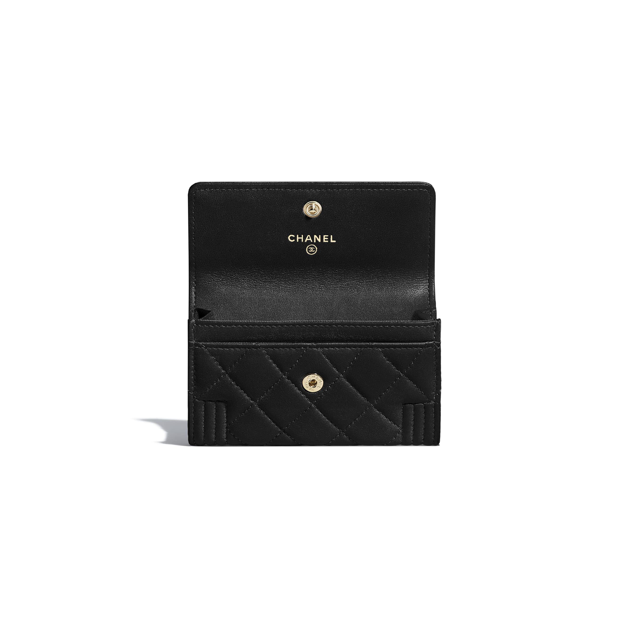 BOY CHANEL Flap Card Holder - Black - Lambskin - CHANEL - Other view - see standard sized version
