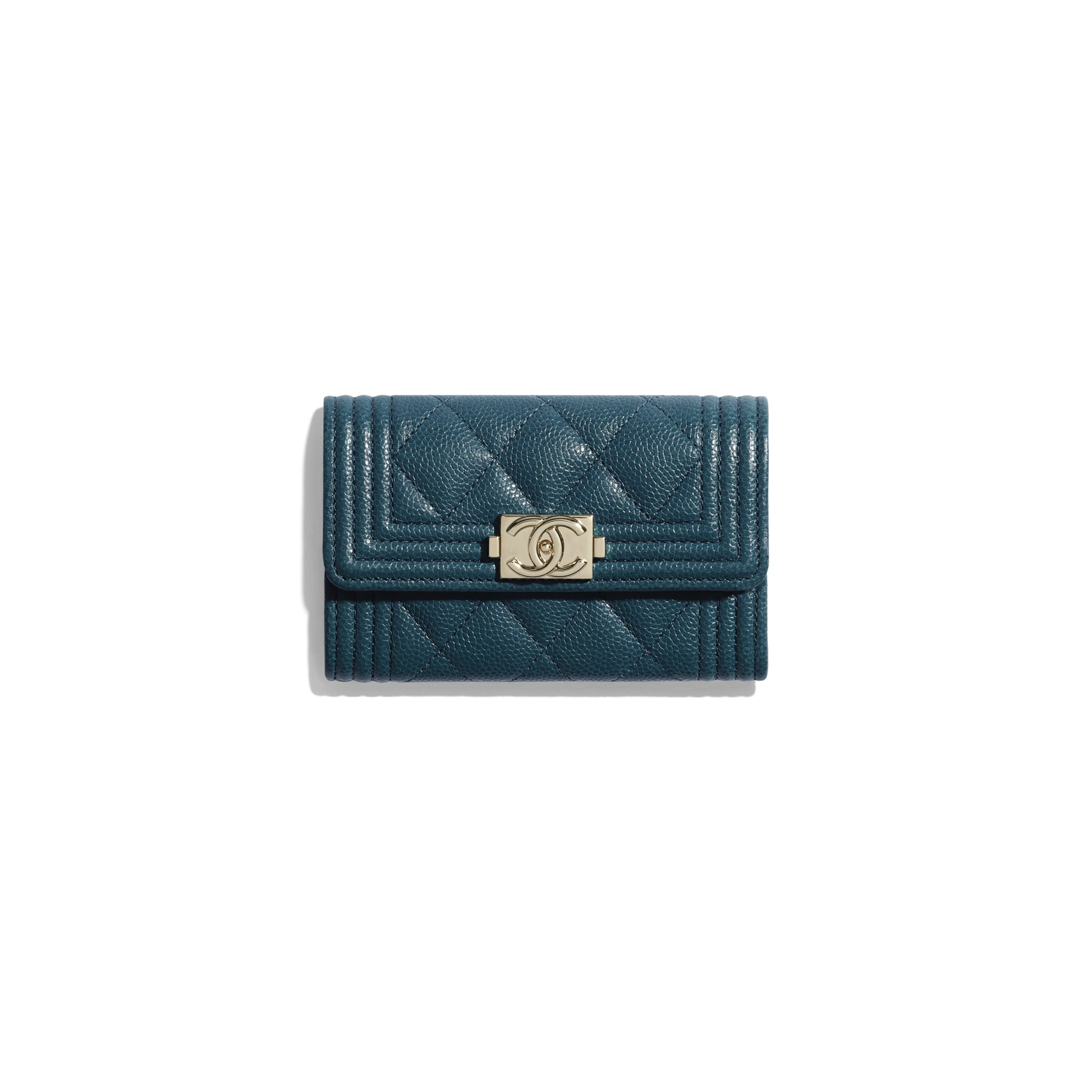 BOY CHANEL Flap Card Holder - Blue - Grained Calfskin & Gold-Tone Metal - CHANEL - Default view - see standard sized version