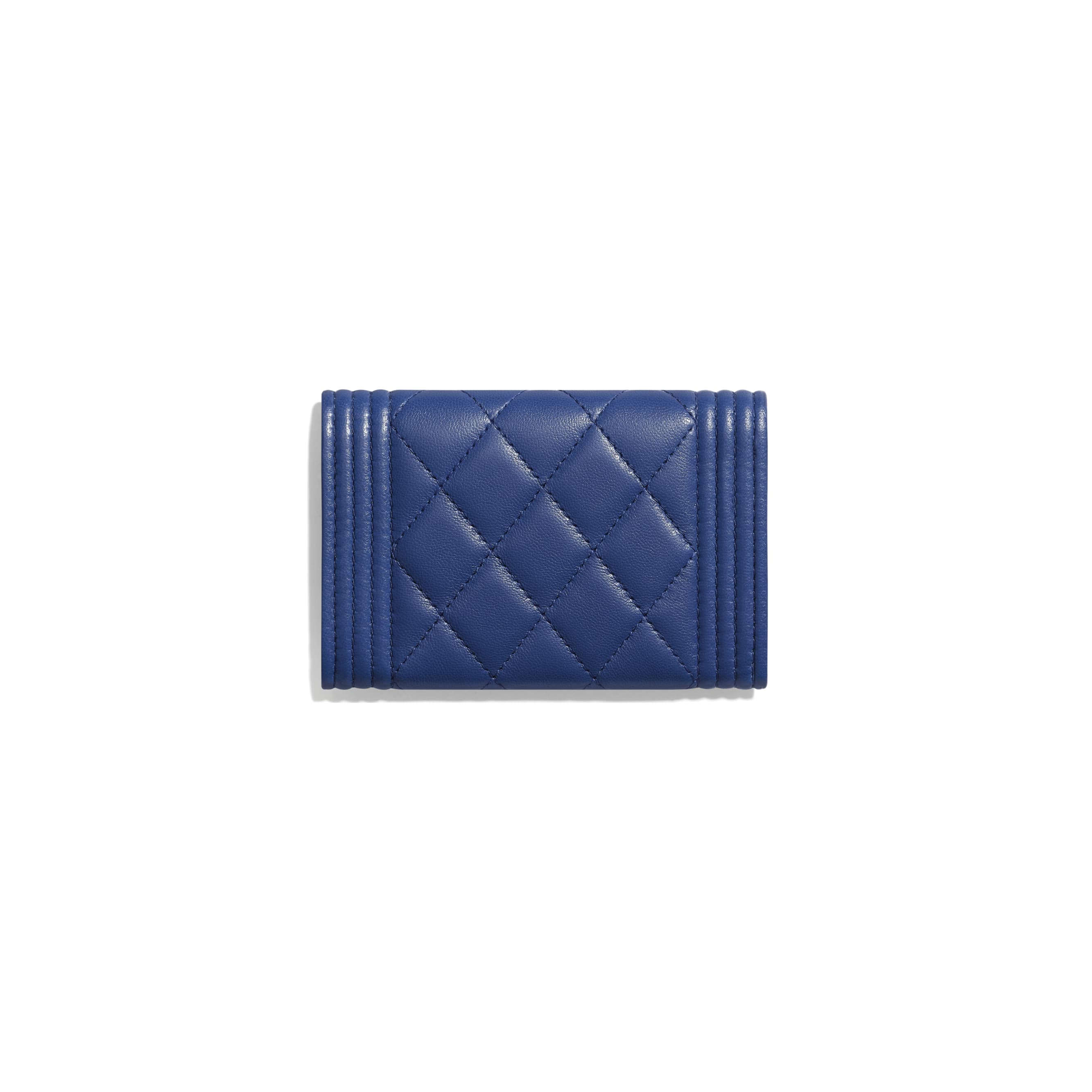 BOY CHANEL Flap Card Holder - Dark Blue - Lambskin & Gold-Tone Metal - CHANEL - Alternative view - see standard sized version