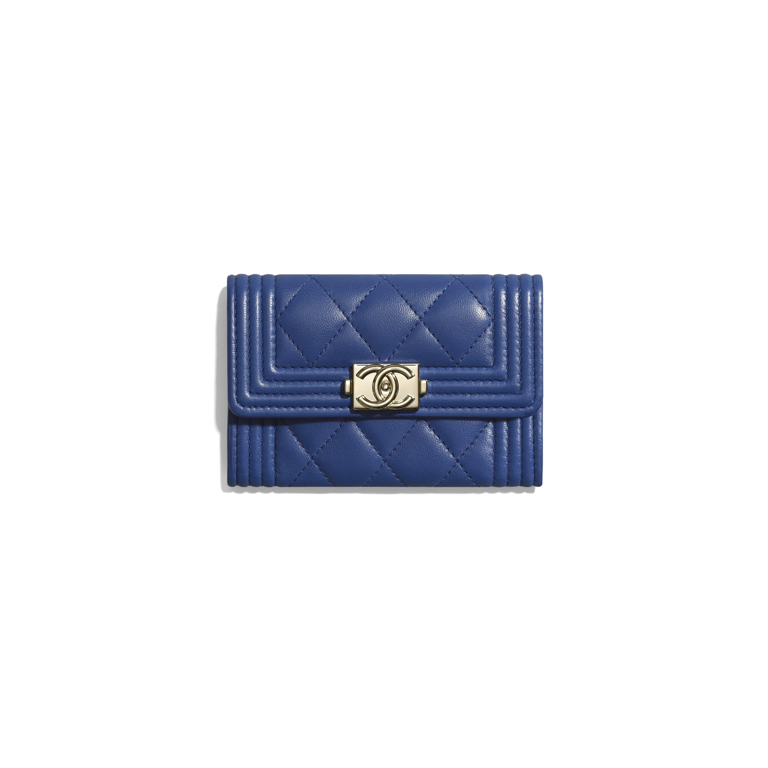 BOY CHANEL Flap Card Holder - Dark Blue - Lambskin & Gold-Tone Metal - CHANEL - Default view - see standard sized version