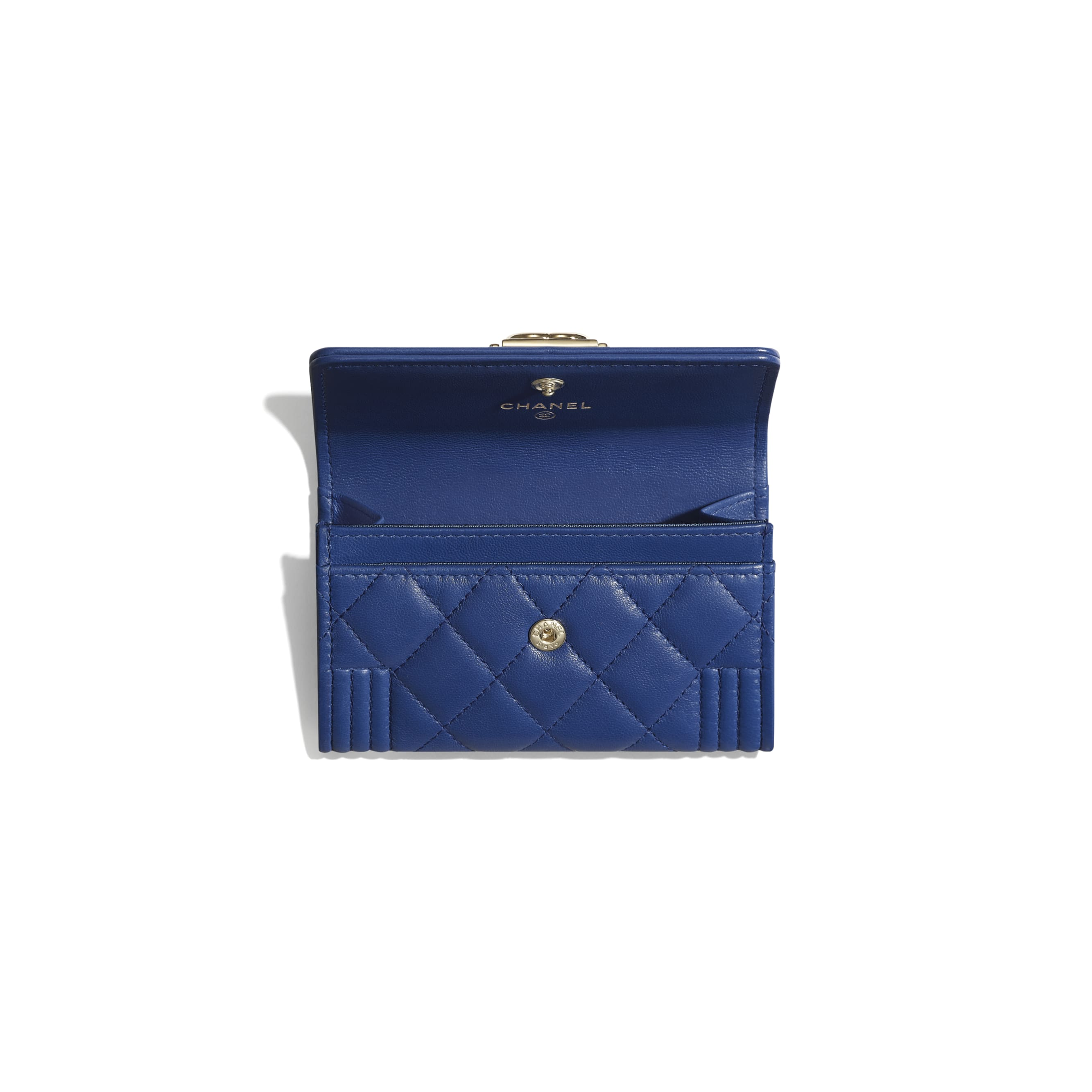 BOY CHANEL Flap Card Holder - Dark Blue - Lambskin & Gold-Tone Metal - CHANEL - Other view - see standard sized version