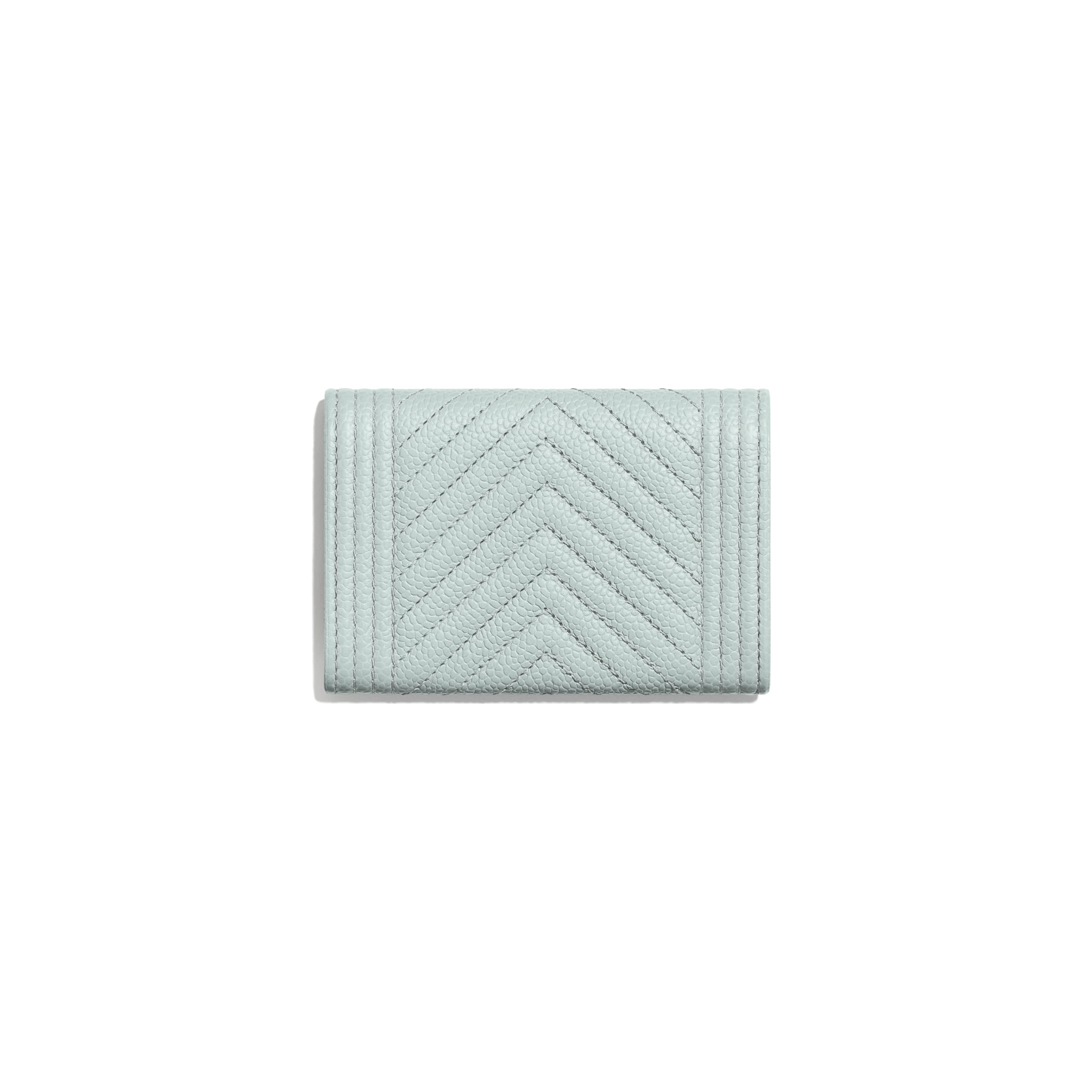 BOY CHANEL Flap Card Holder - Light Blue - Shiny Grained Calfskin & Silver-Tone Metal - Alternative view - see standard sized version
