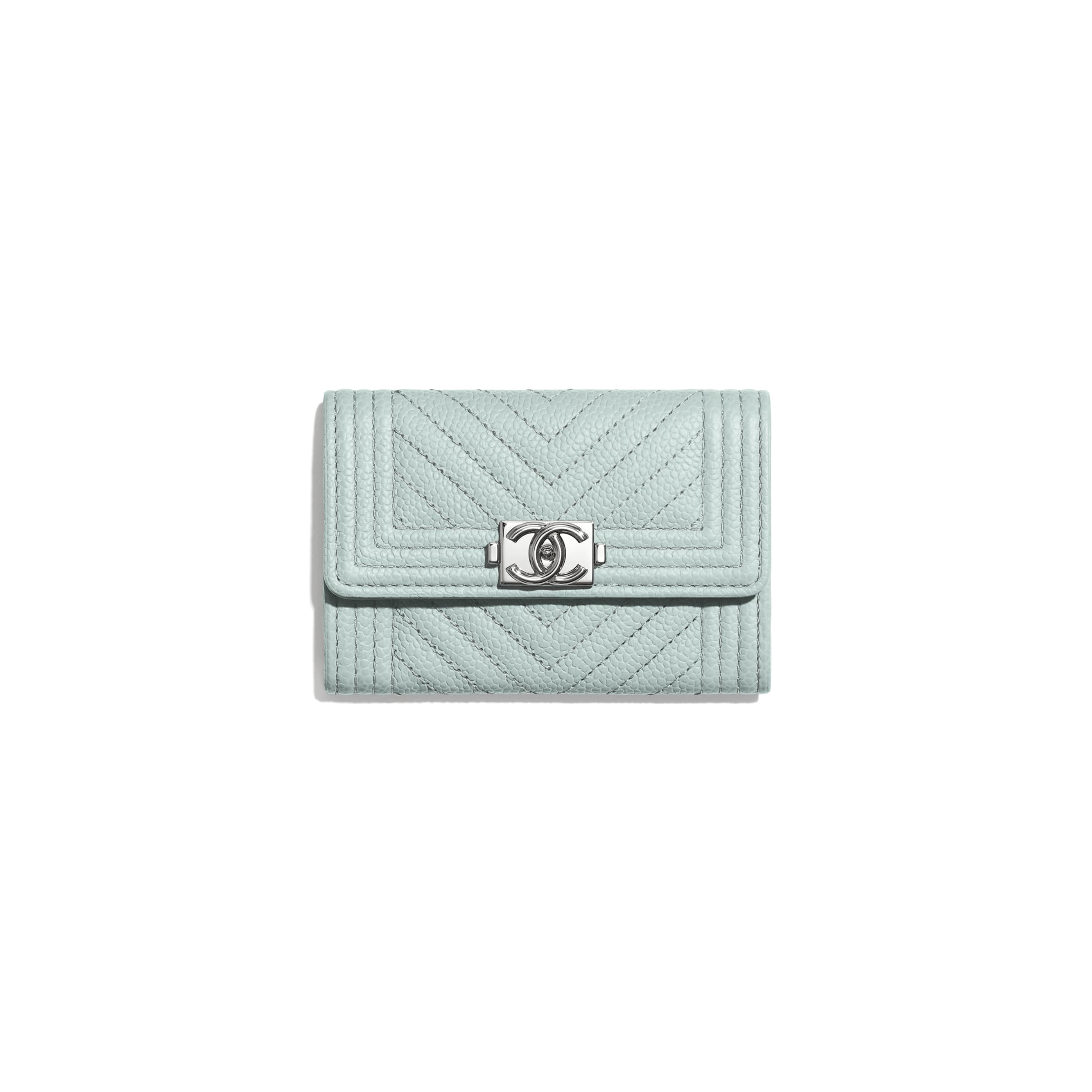 BOY CHANEL Flap Card Holder - Light Blue - Shiny Grained Calfskin & Silver-Tone Metal - Default view - see standard sized version